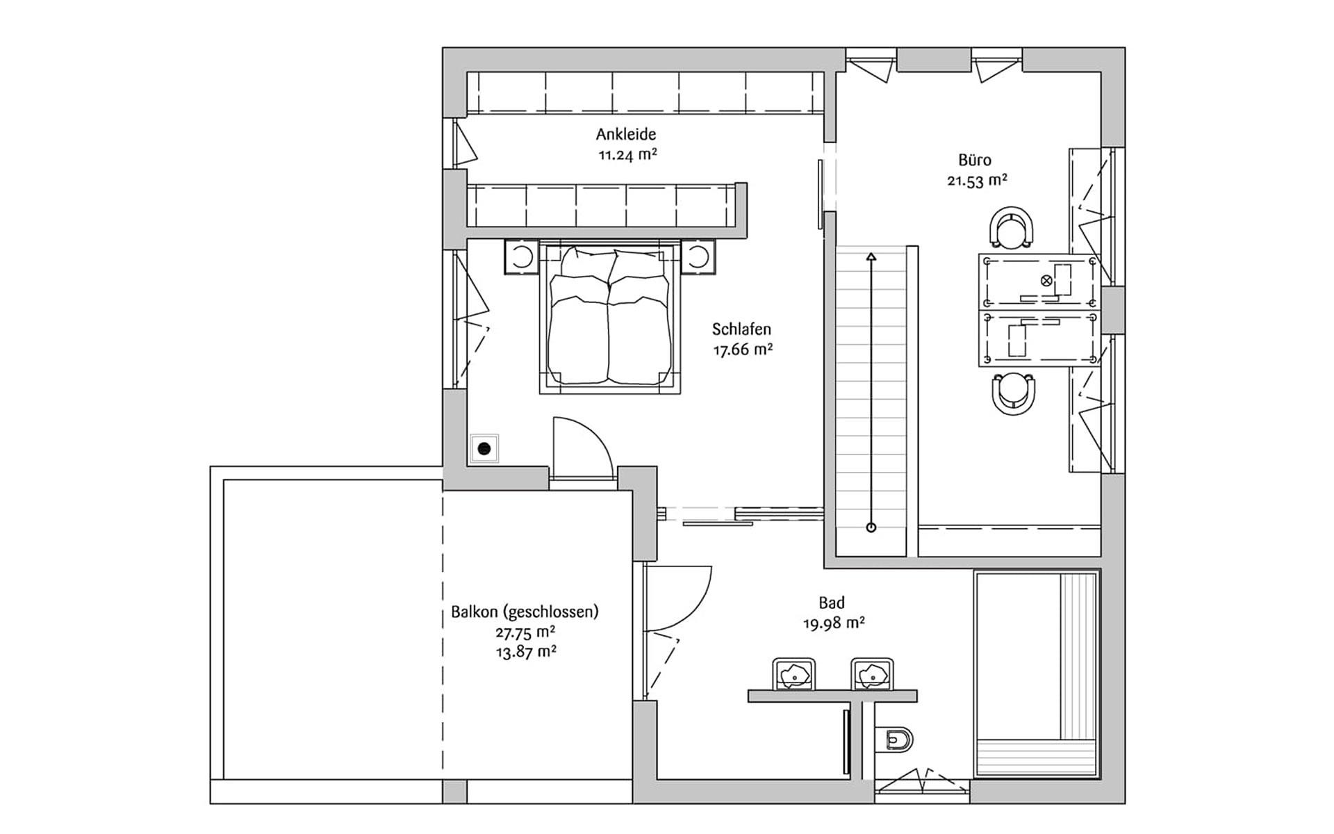 Obergeschoss Bauhaus 190 von FischerHaus GmbH & Co. KG
