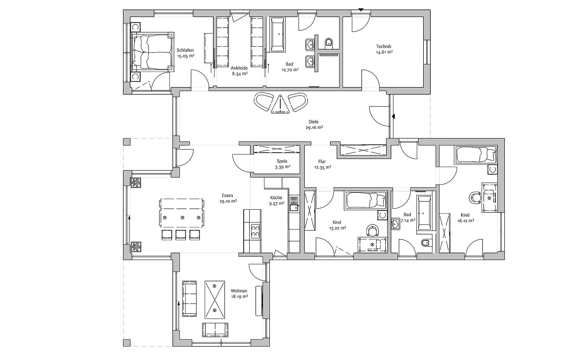 Erdgeschoss Bungalow 200 von FischerHaus GmbH & Co. KG
