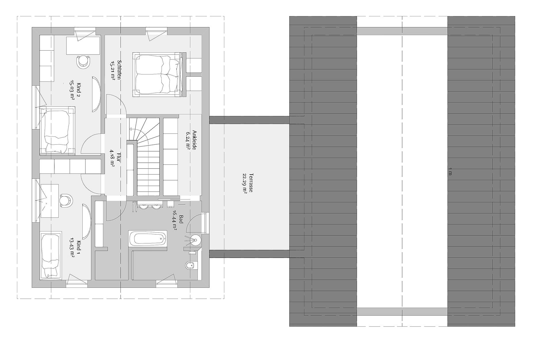 Obergeschoss Modern 263 von FischerHaus GmbH & Co. KG