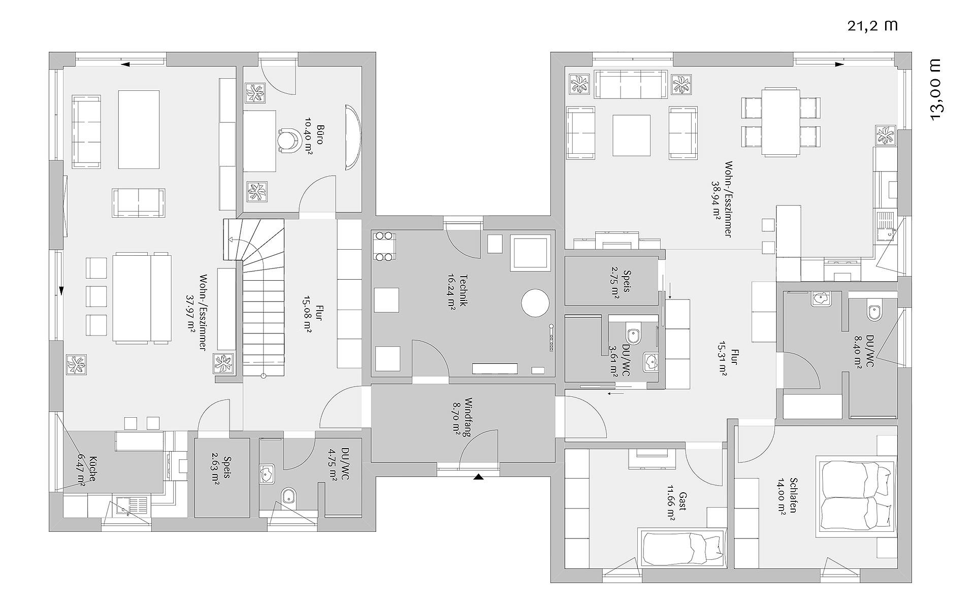 Erdgeschoss Modern 263 von FischerHaus GmbH & Co. KG