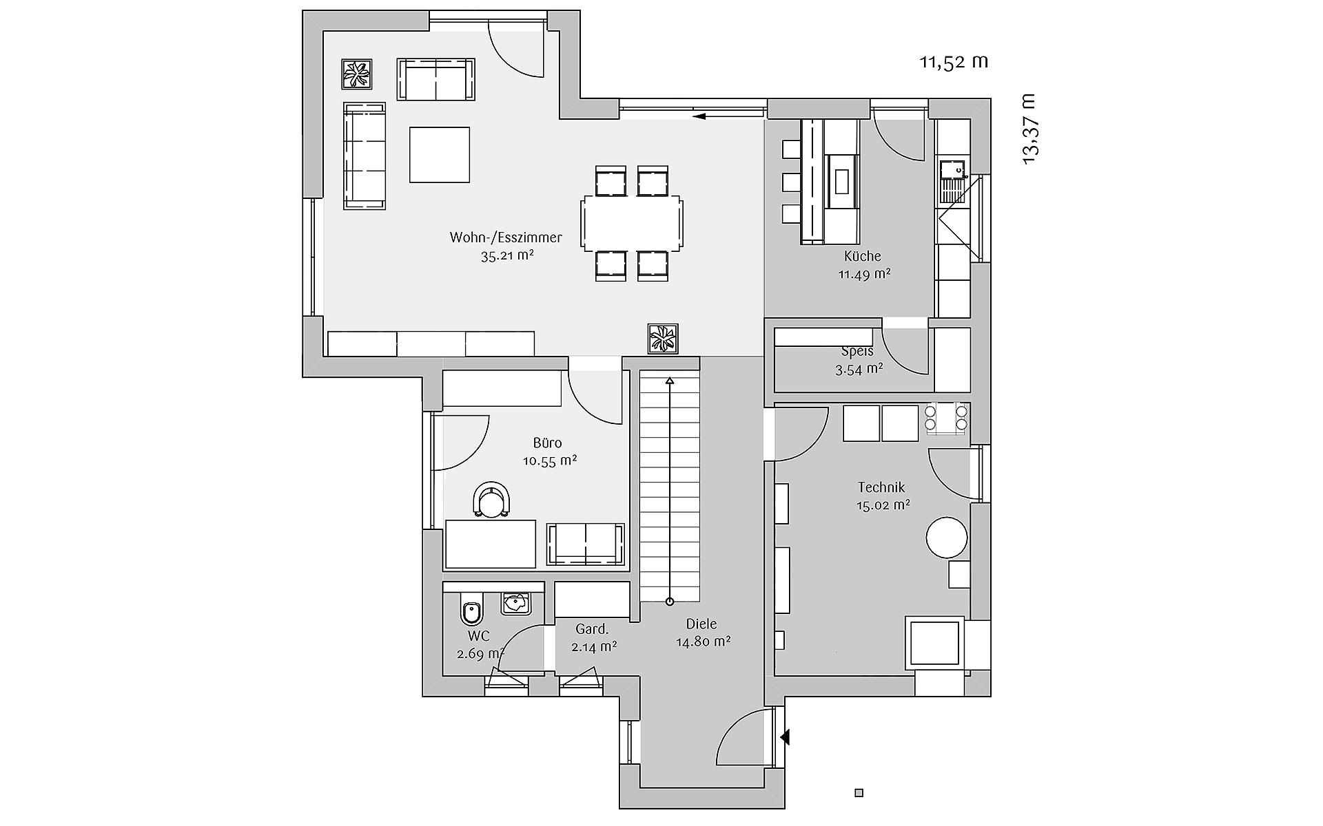 Erdgeschoss Modern 168 von FischerHaus GmbH & Co. KG