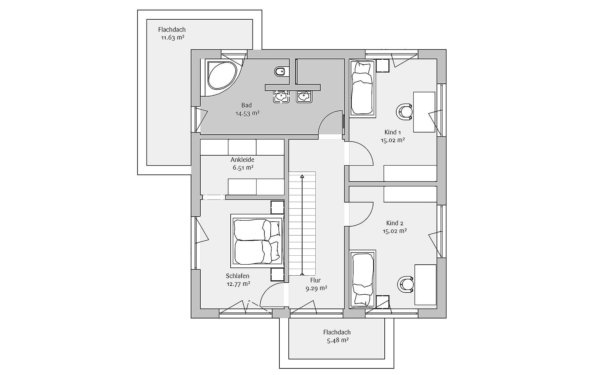 Obergeschoss Modern 168 von FischerHaus GmbH & Co. KG