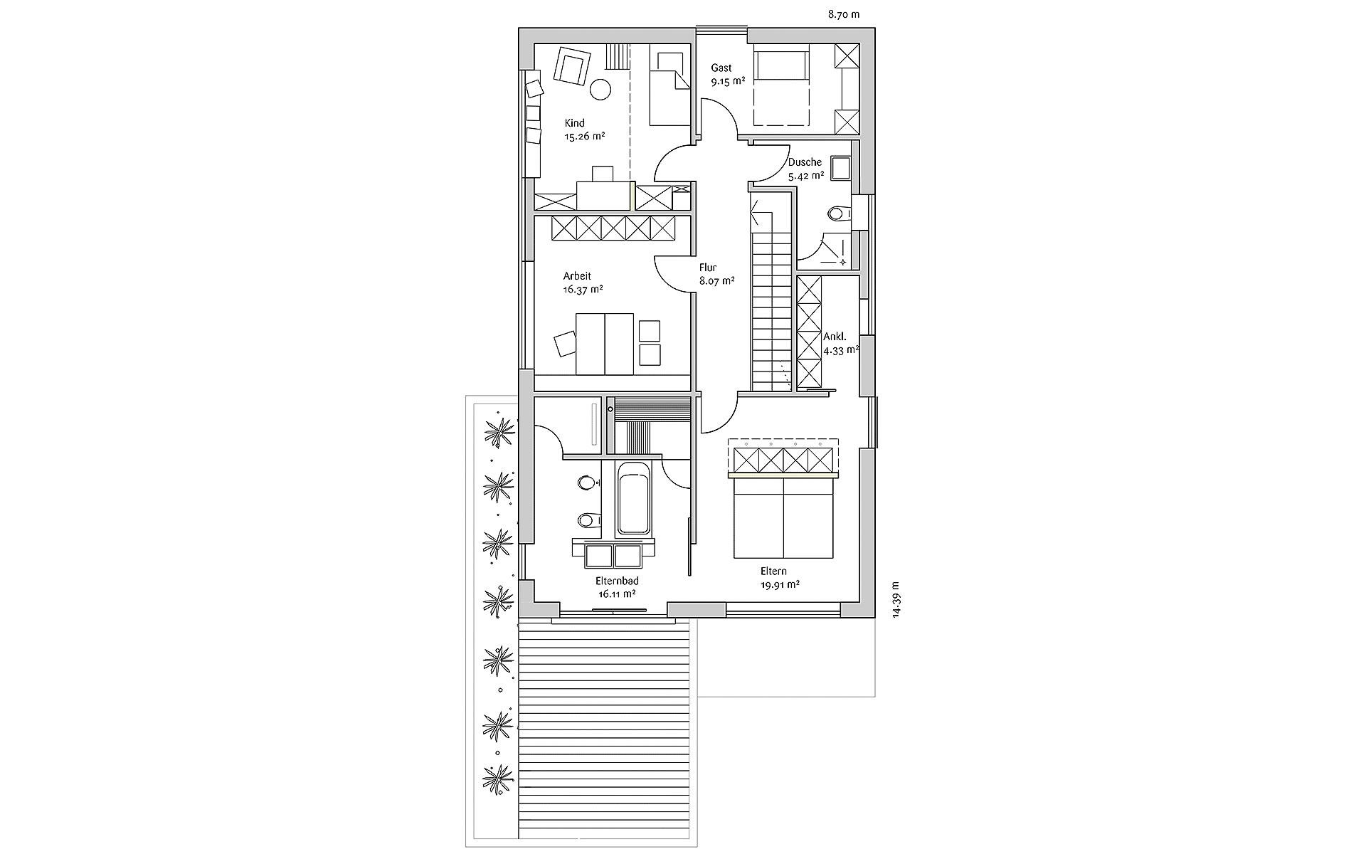 Obergeschoss Generation X MH Poing von FischerHaus GmbH & Co. KG