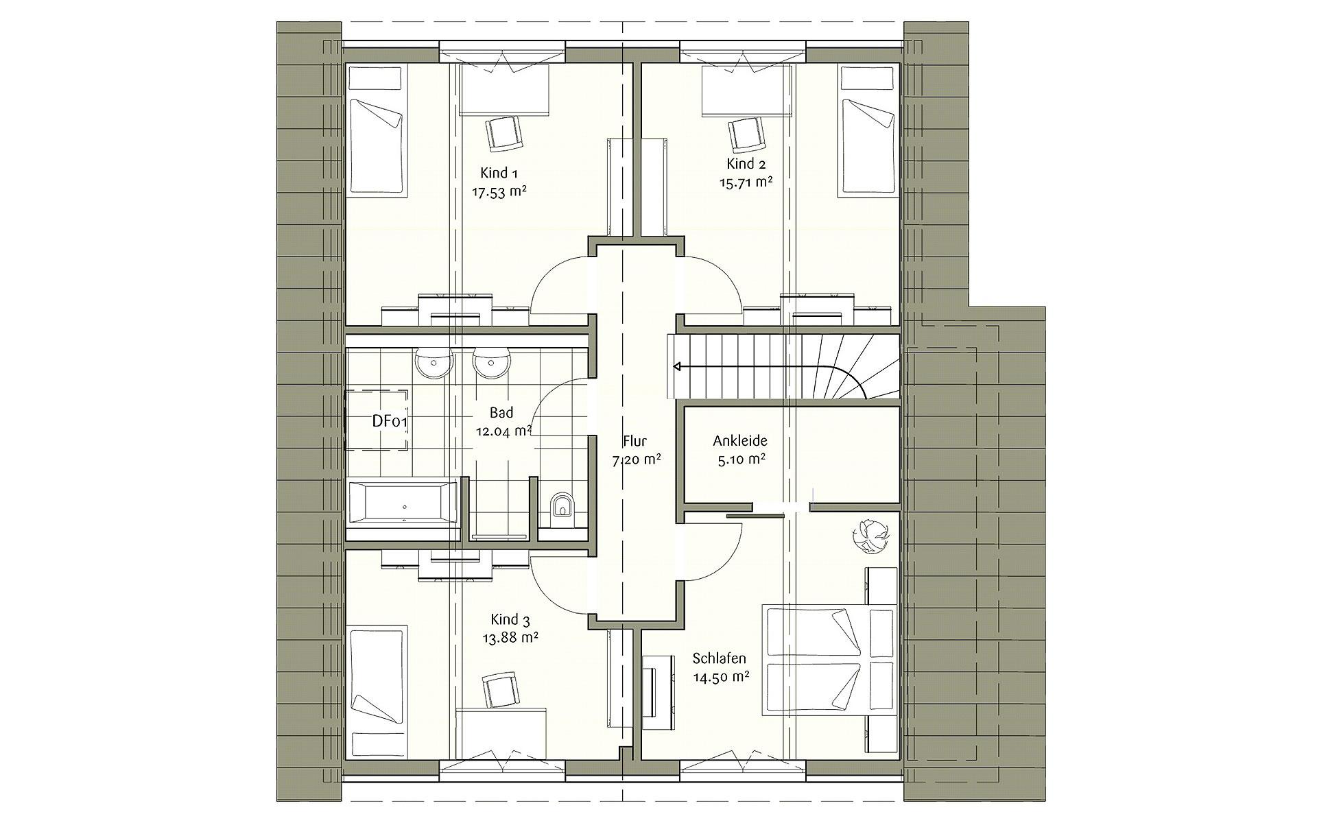 Dachgeschoss Klassisch 187 von FischerHaus GmbH & Co. KG