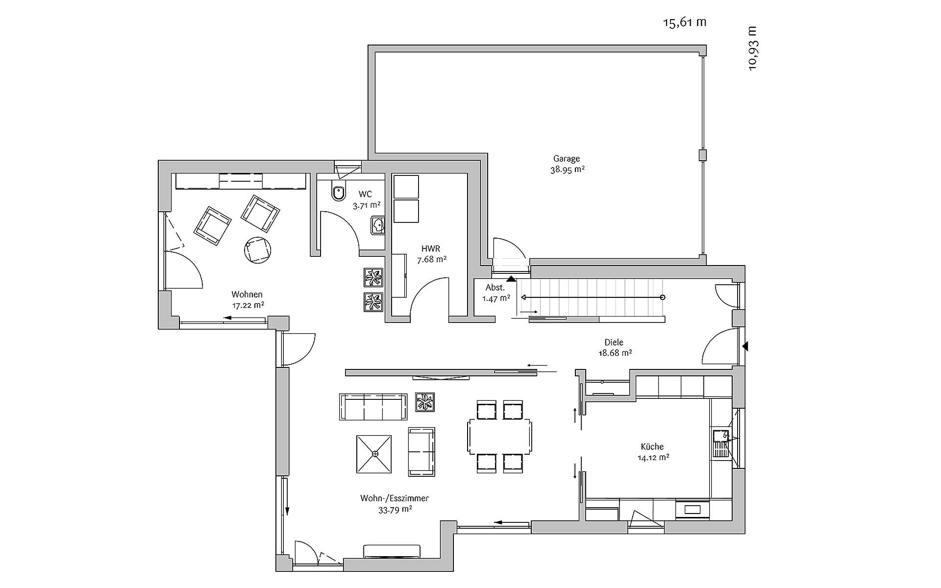 Erdgeschoss Modern 178 von FischerHaus GmbH & Co. KG
