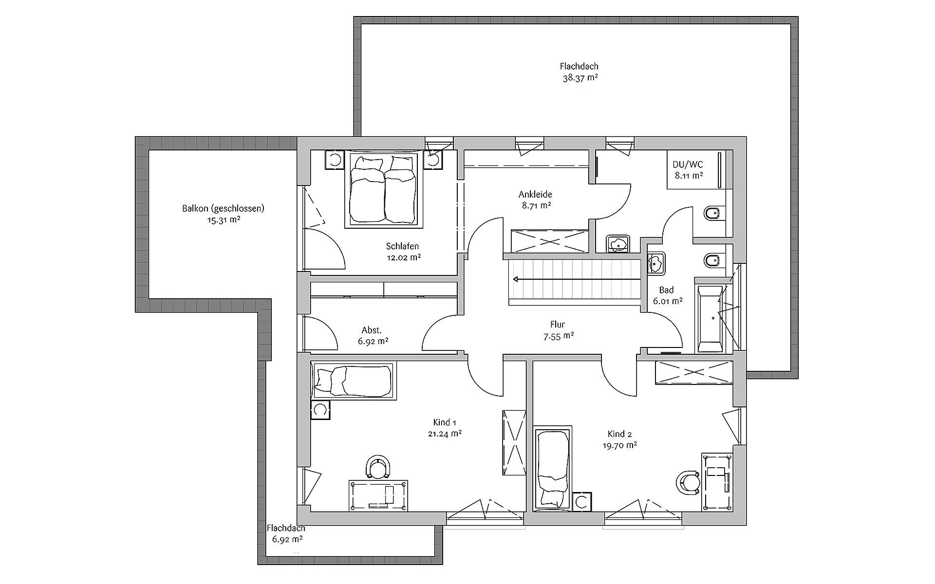 Obergeschoss Modern 178 von FischerHaus GmbH & Co. KG