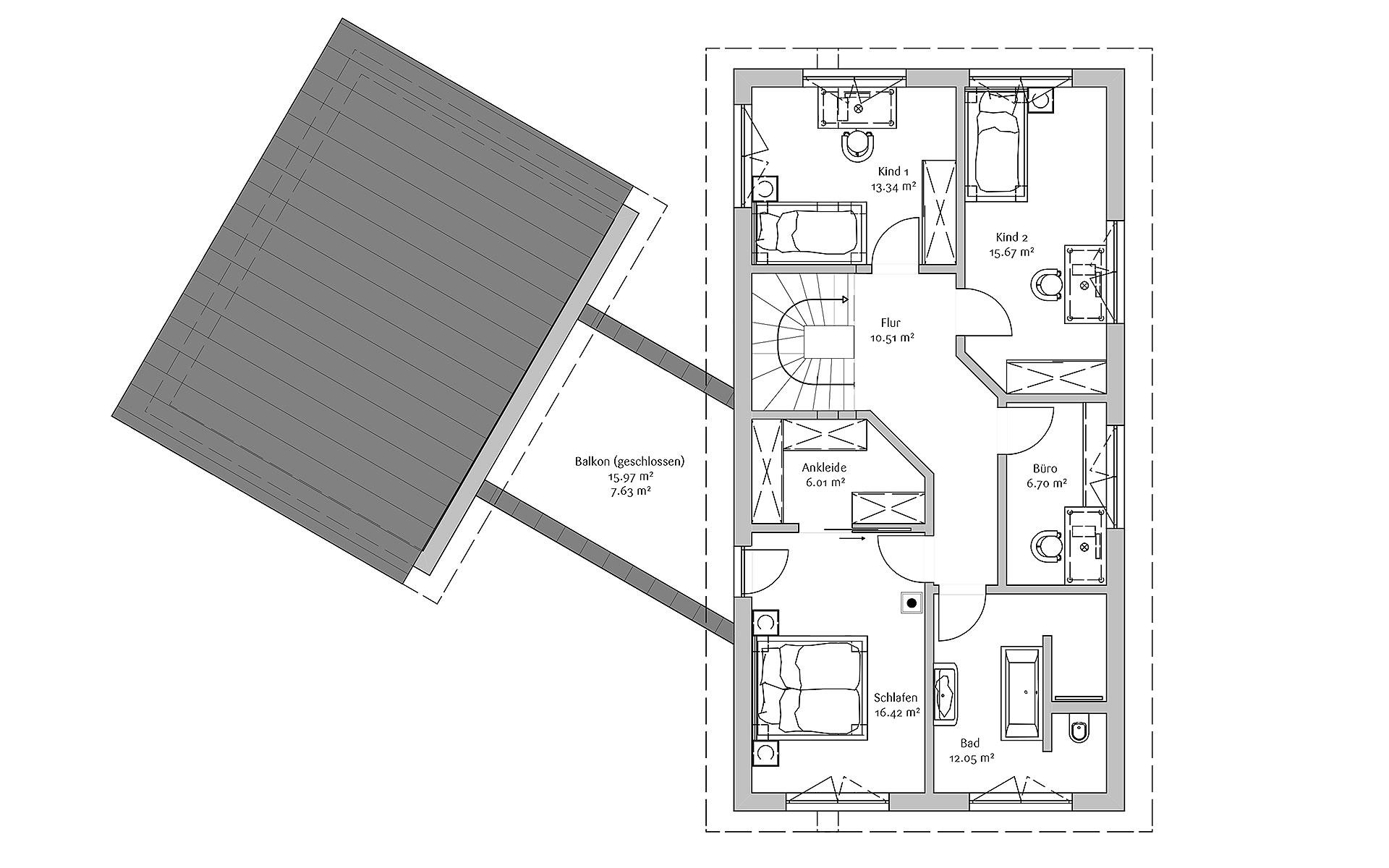 Obergeschoss Moden 240 von FischerHaus GmbH & Co. KG
