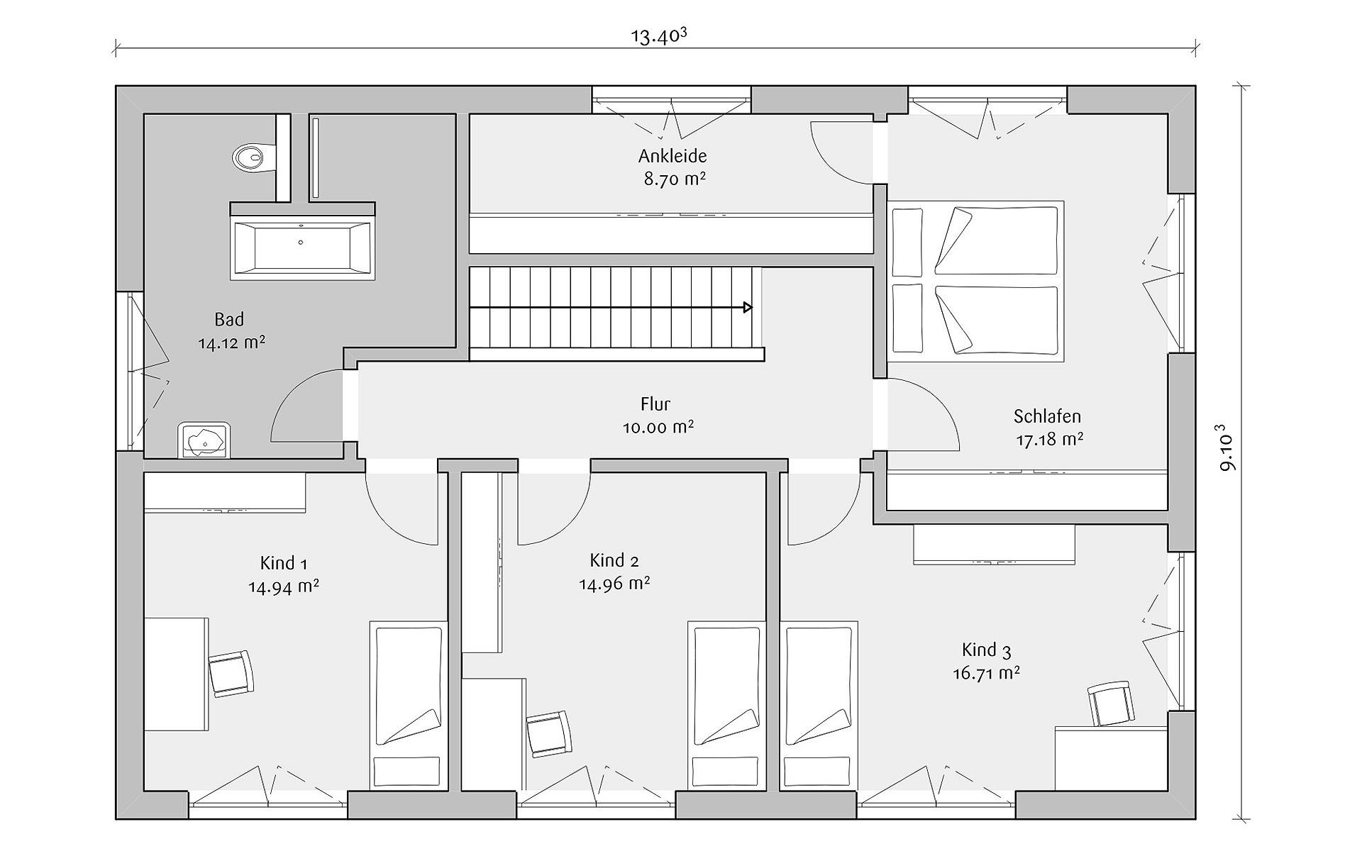 Dachgeschoss Stadtvilla 160 von FischerHaus GmbH & Co. KG