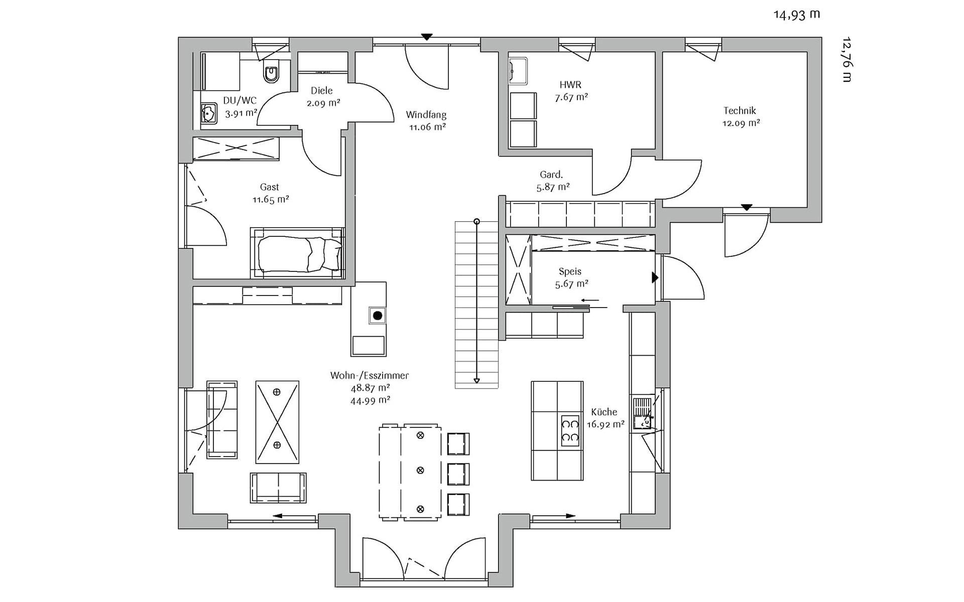 Erdgeschoss Stadtvilla 247 von FischerHaus GmbH & Co. KG