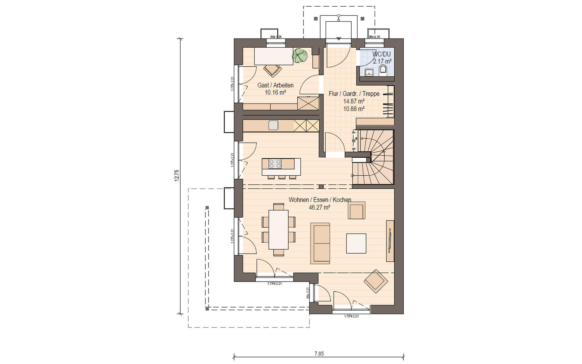 Erdgeschoss Haas D 137 A von Haas Fertigbau GmbH