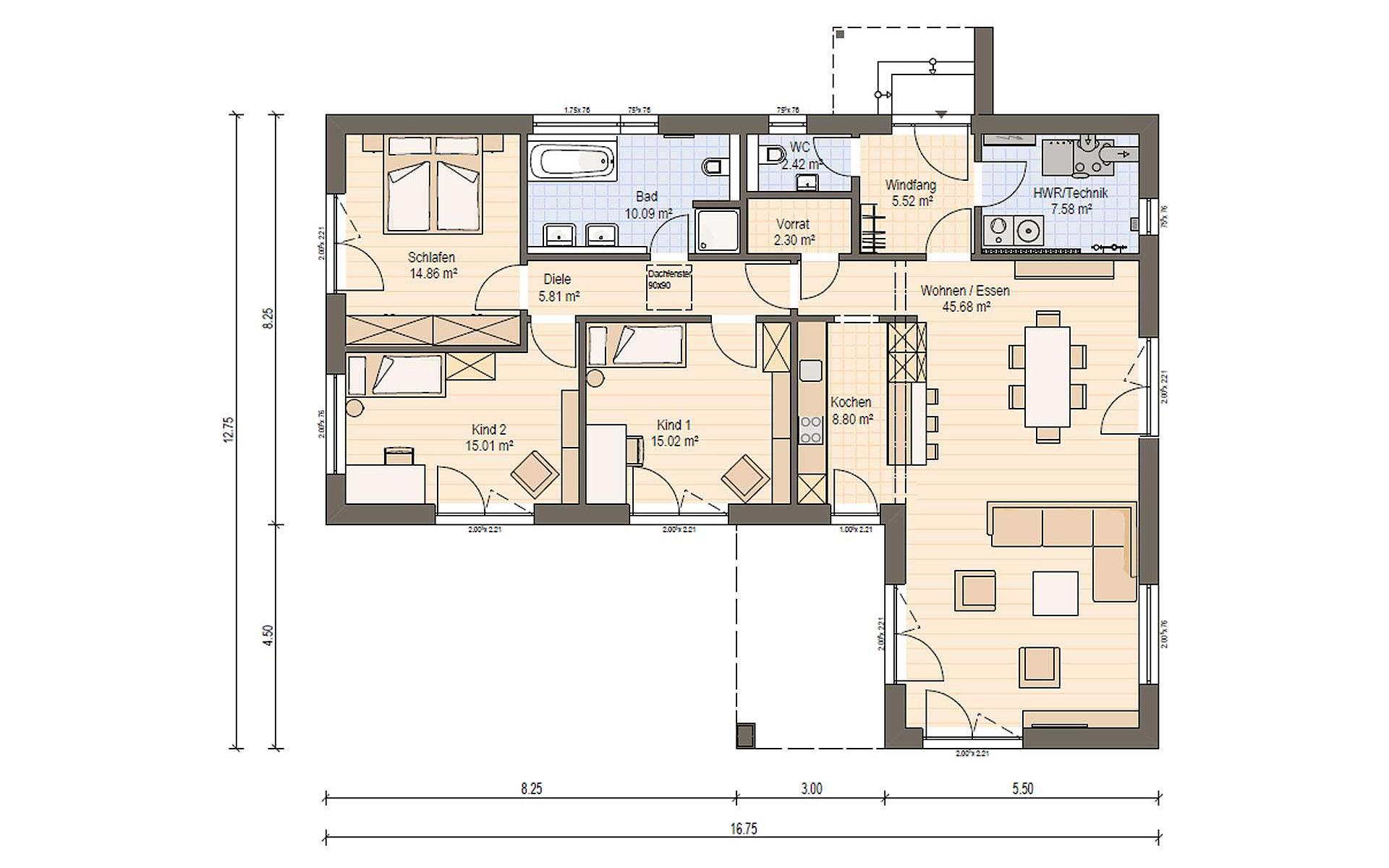 Erdgeschoss Haas BT 133 A von Haas Fertigbau GmbH