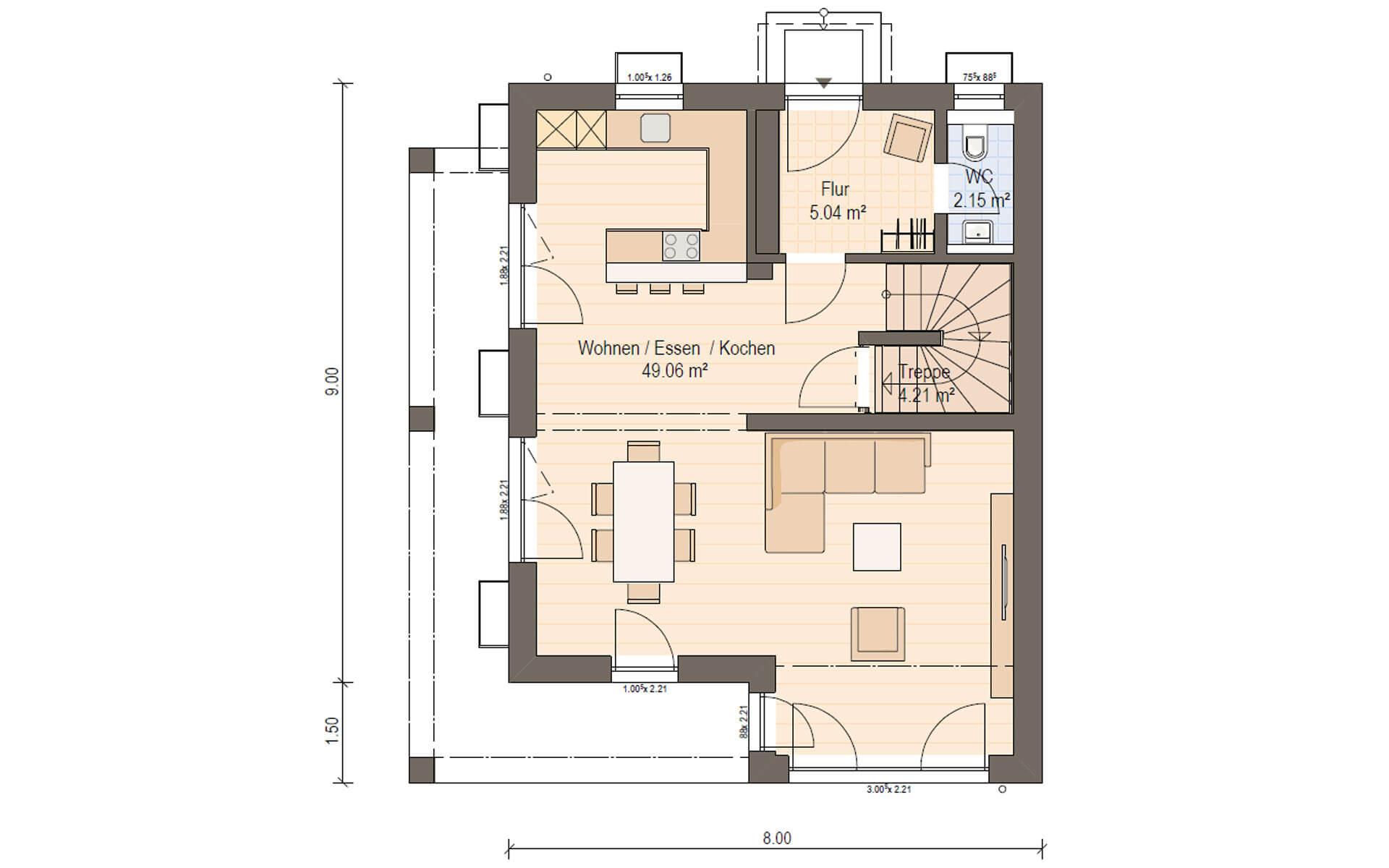 Erdgeschoss Haas D 110 A von Haas Fertigbau GmbH