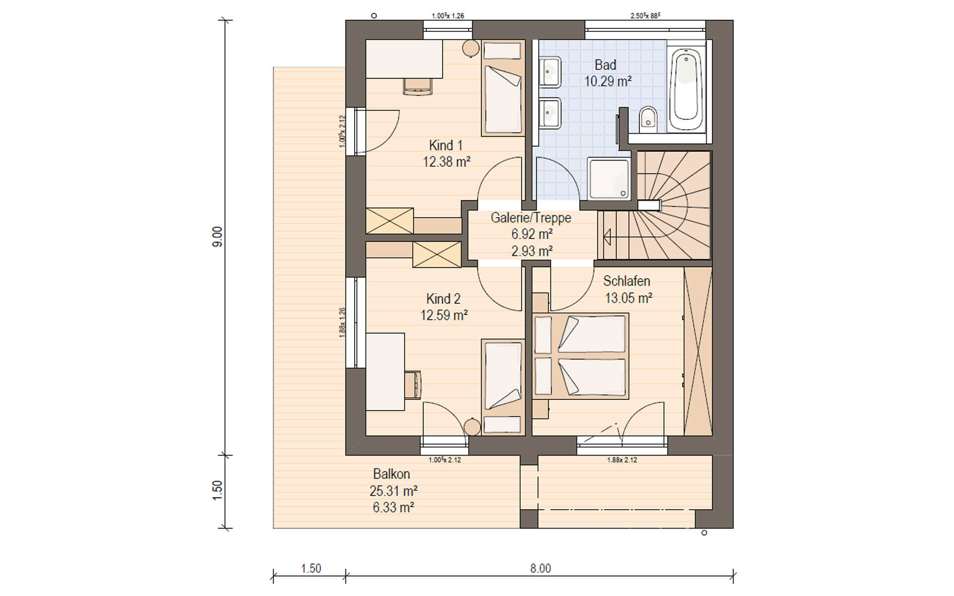 Obergeschoss Haas D 110 A von Haas Fertigbau GmbH