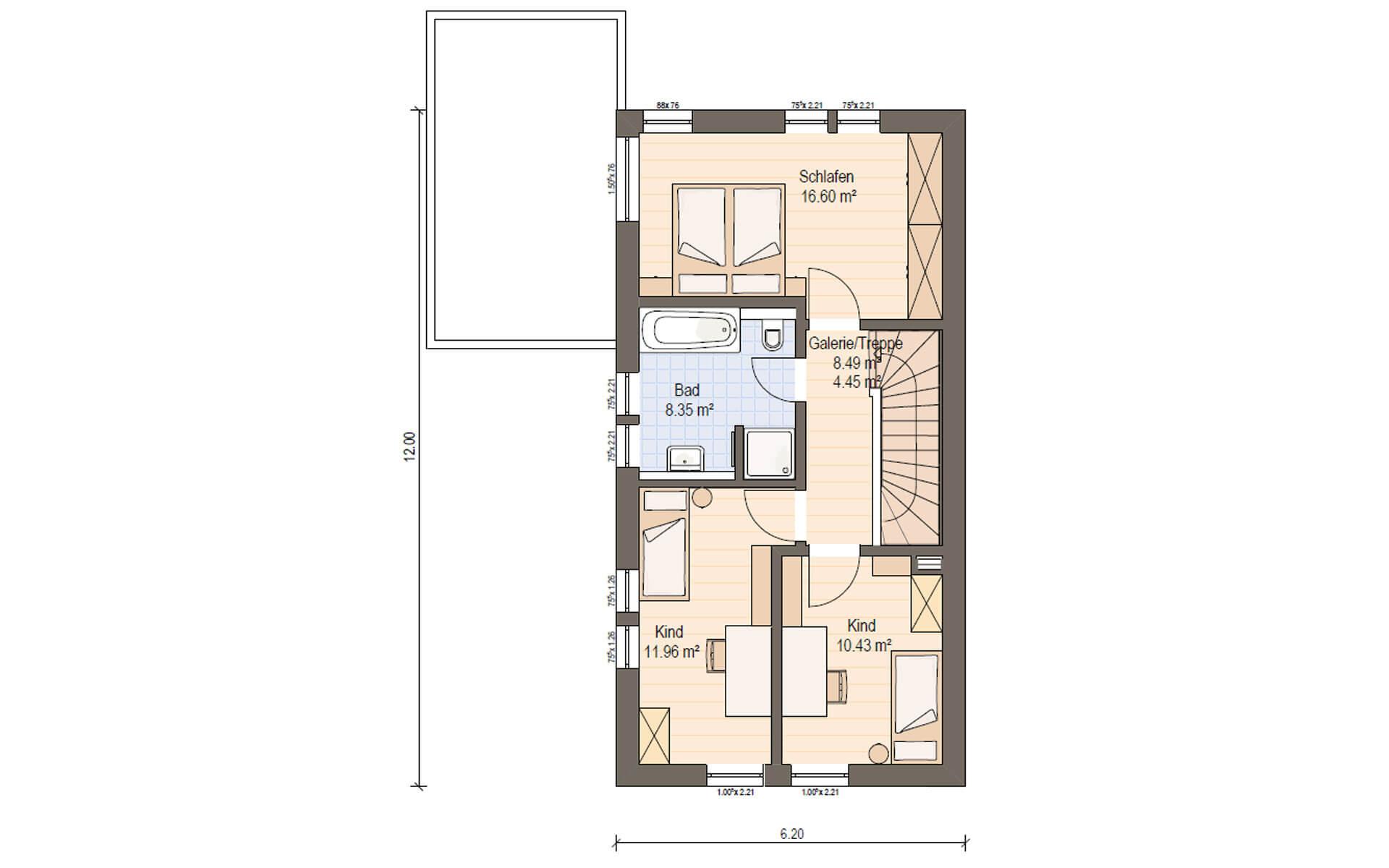 Obergeschoss Haas D 114 A von Haas Fertigbau GmbH