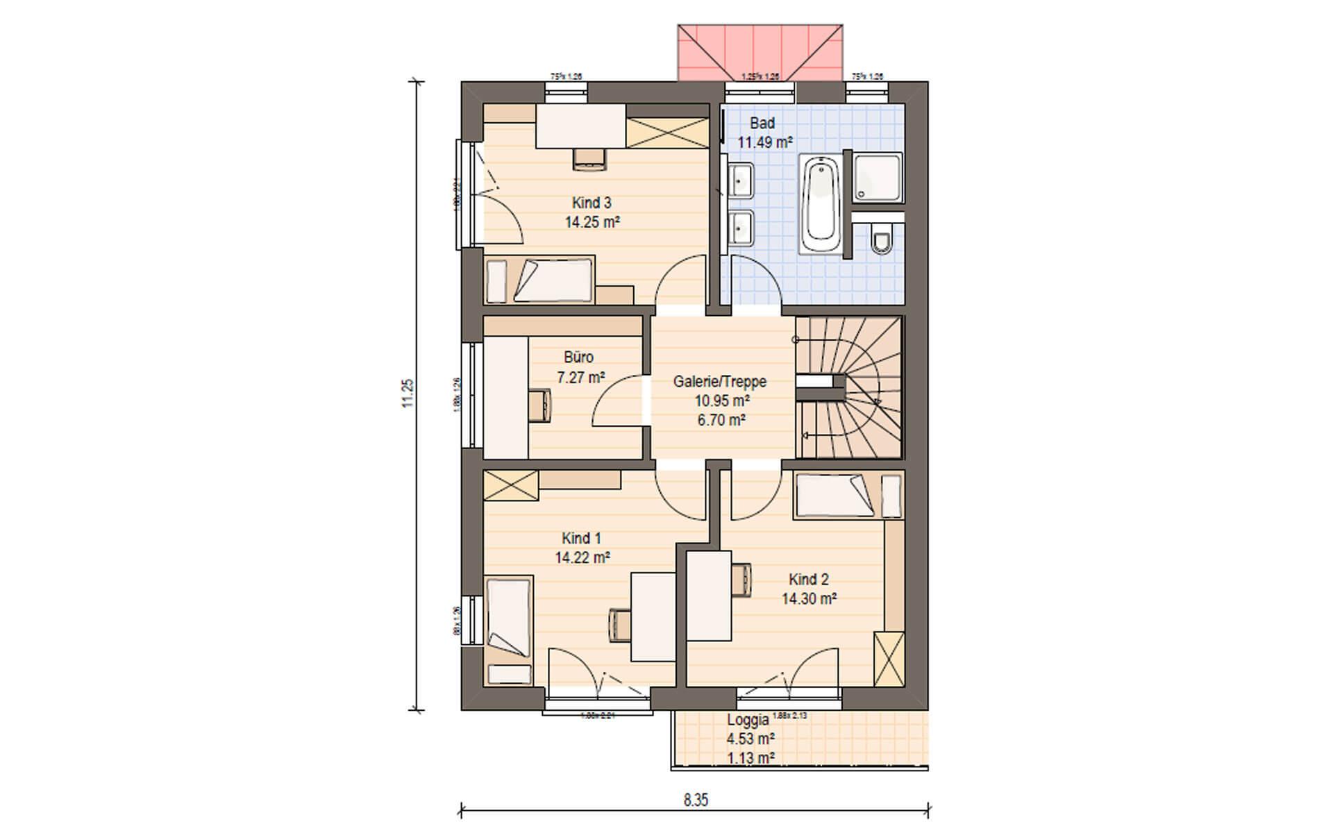 Obergeschoss Haas D 148 A von Haas Fertigbau GmbH