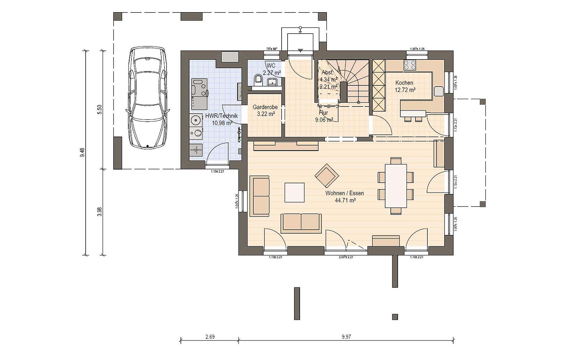 Erdgeschoss Haas MH Falkenberg 150 von Haas Fertigbau GmbH