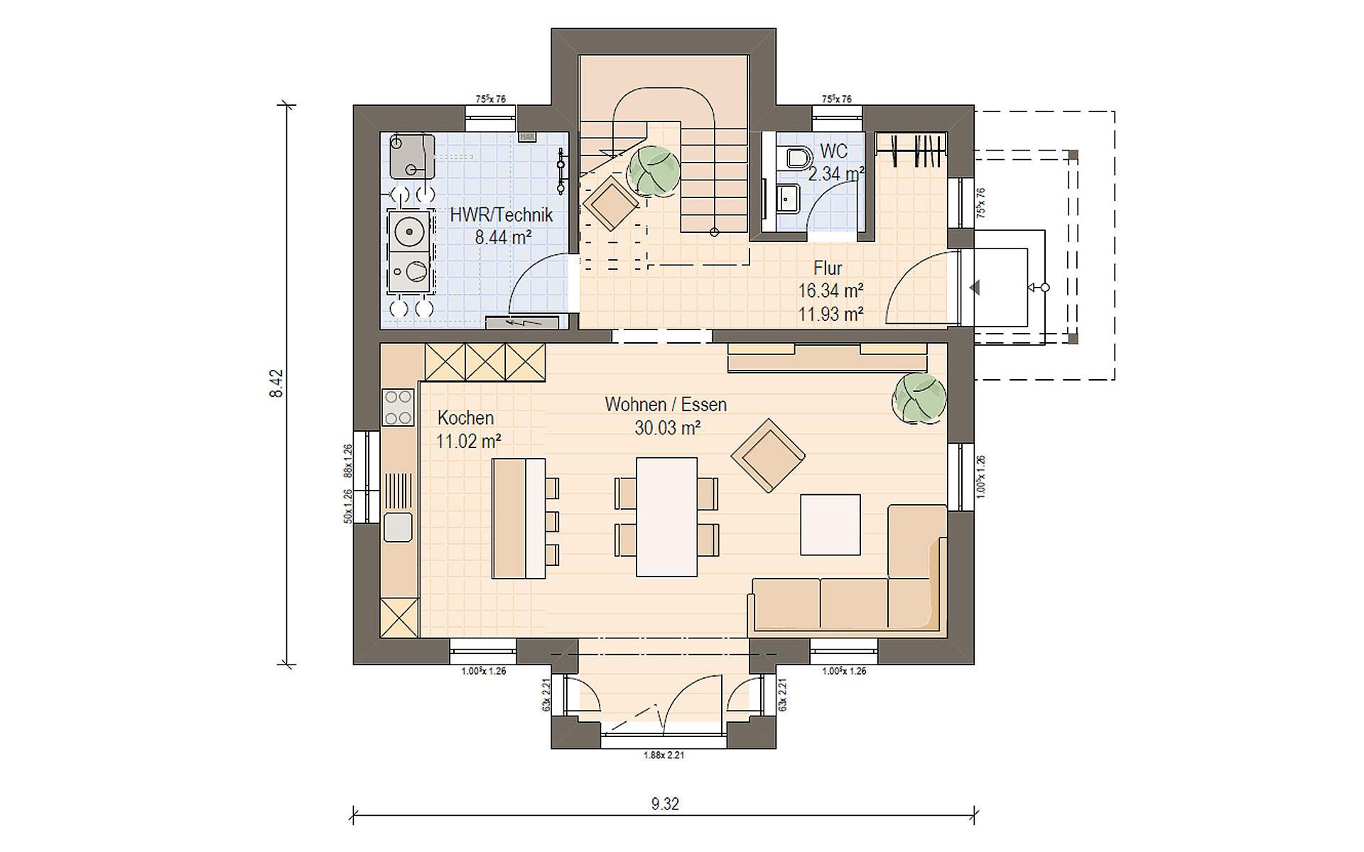 Erdgeschoss Haas S 122 A von Haas Fertigbau GmbH