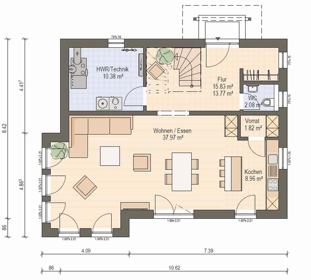 Erdgeschoss Haas S 140 C von Haas Fertigbau GmbH