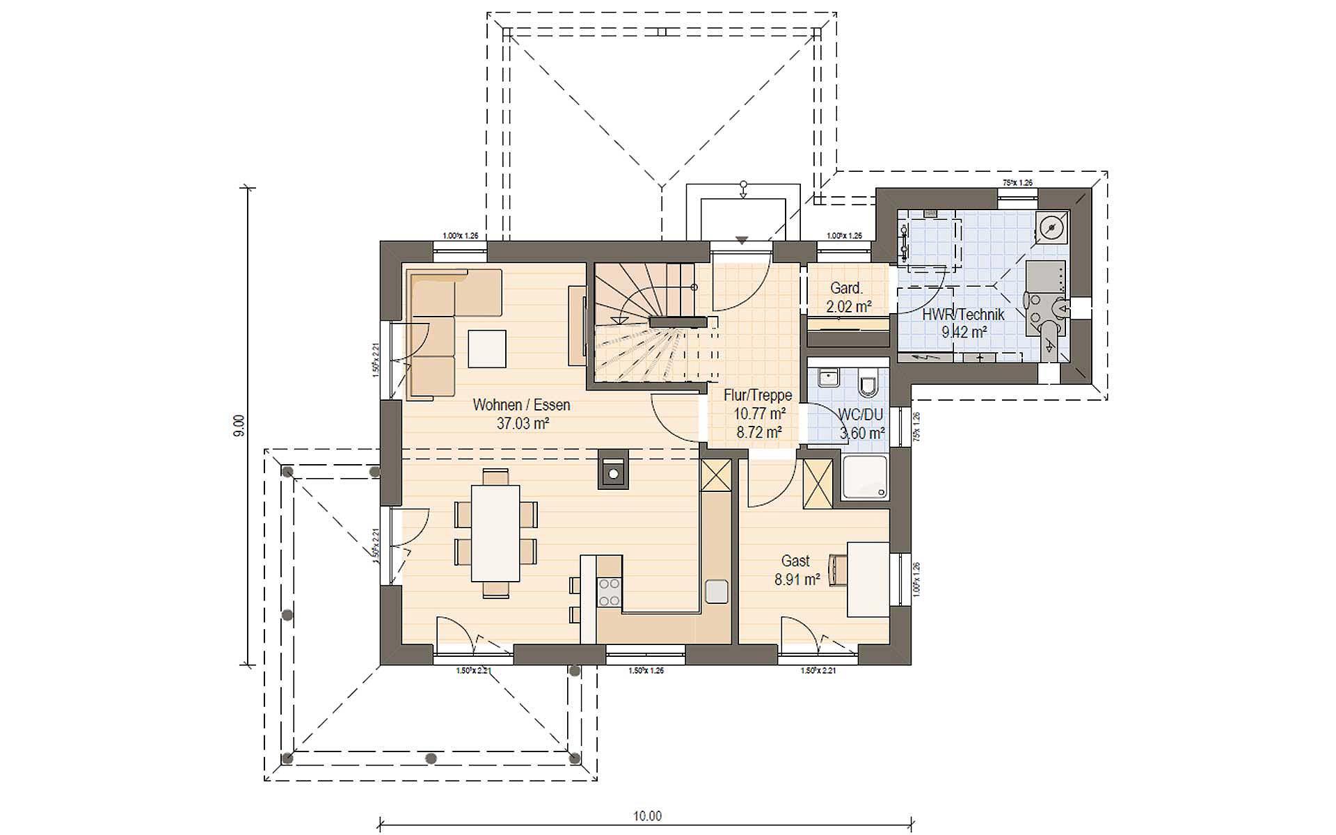 Erdgeschoss Villa Toskana von Haas Fertigbau GmbH