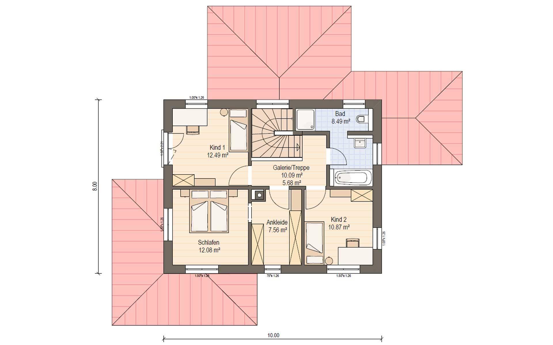 Obergeschoss Villa Toskana von Haas Fertigbau GmbH