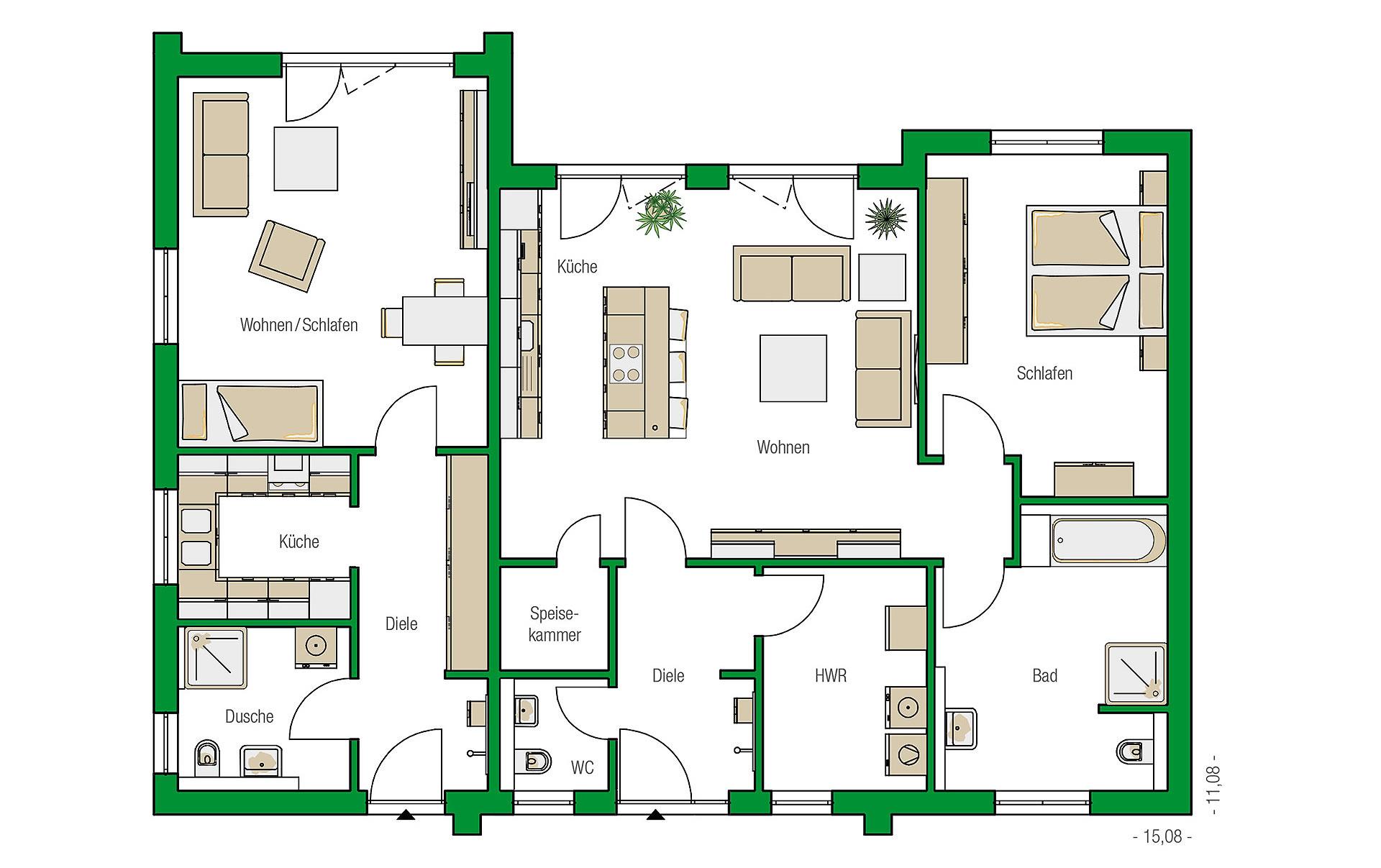 Erdgeschoss Bozen-Variante von HELMA Eigenheimbau AG