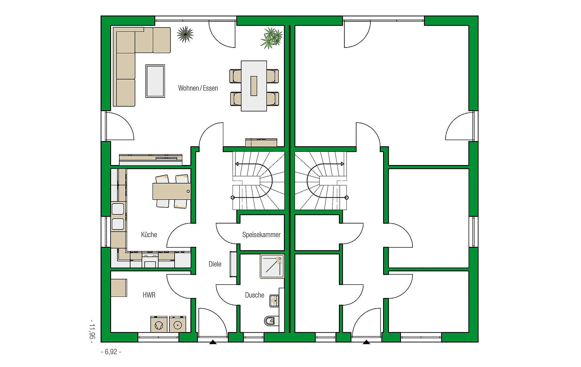 Erdgeschoss Dublin-Variante von HELMA Eigenheimbau AG