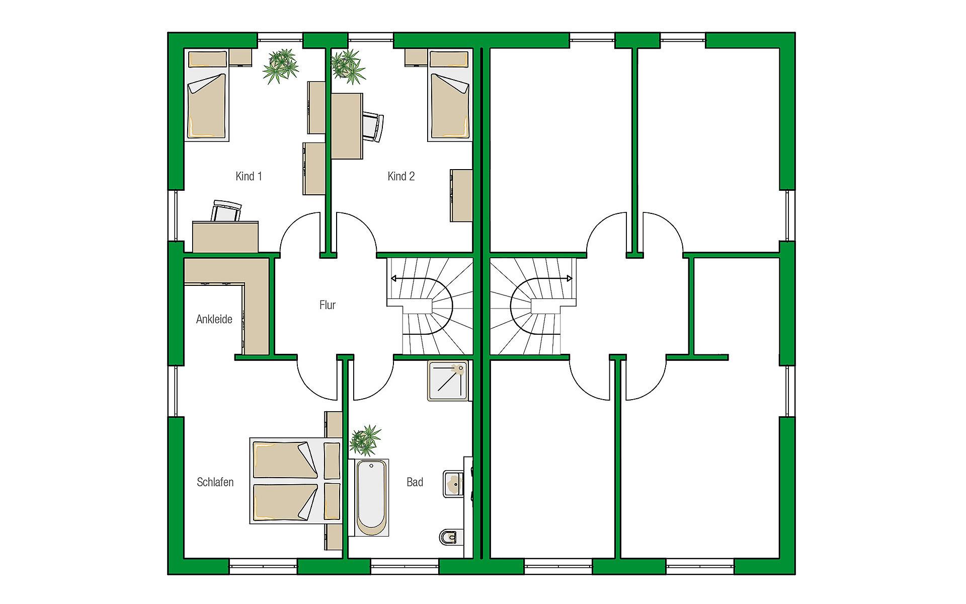 Obergeschoss Dublin-Variante von HELMA Eigenheimbau AG
