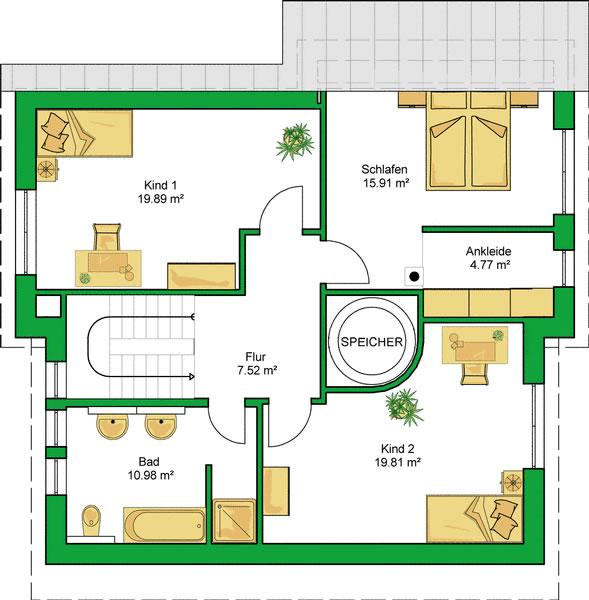 Dachgeschoss EnergieAutarkesHaus von HELMA Eigenheimbau AG