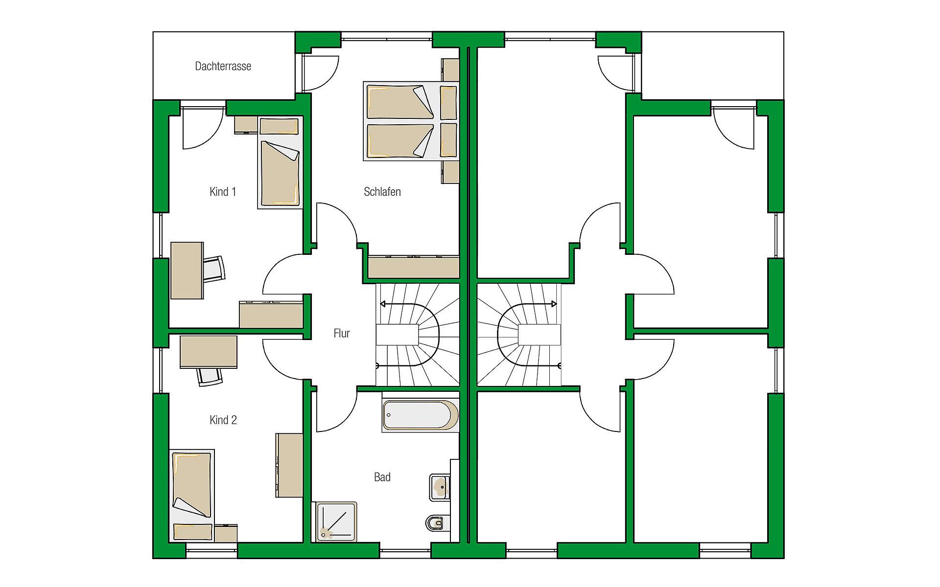 Obergeschoss Glasgow von HELMA Eigenheimbau AG