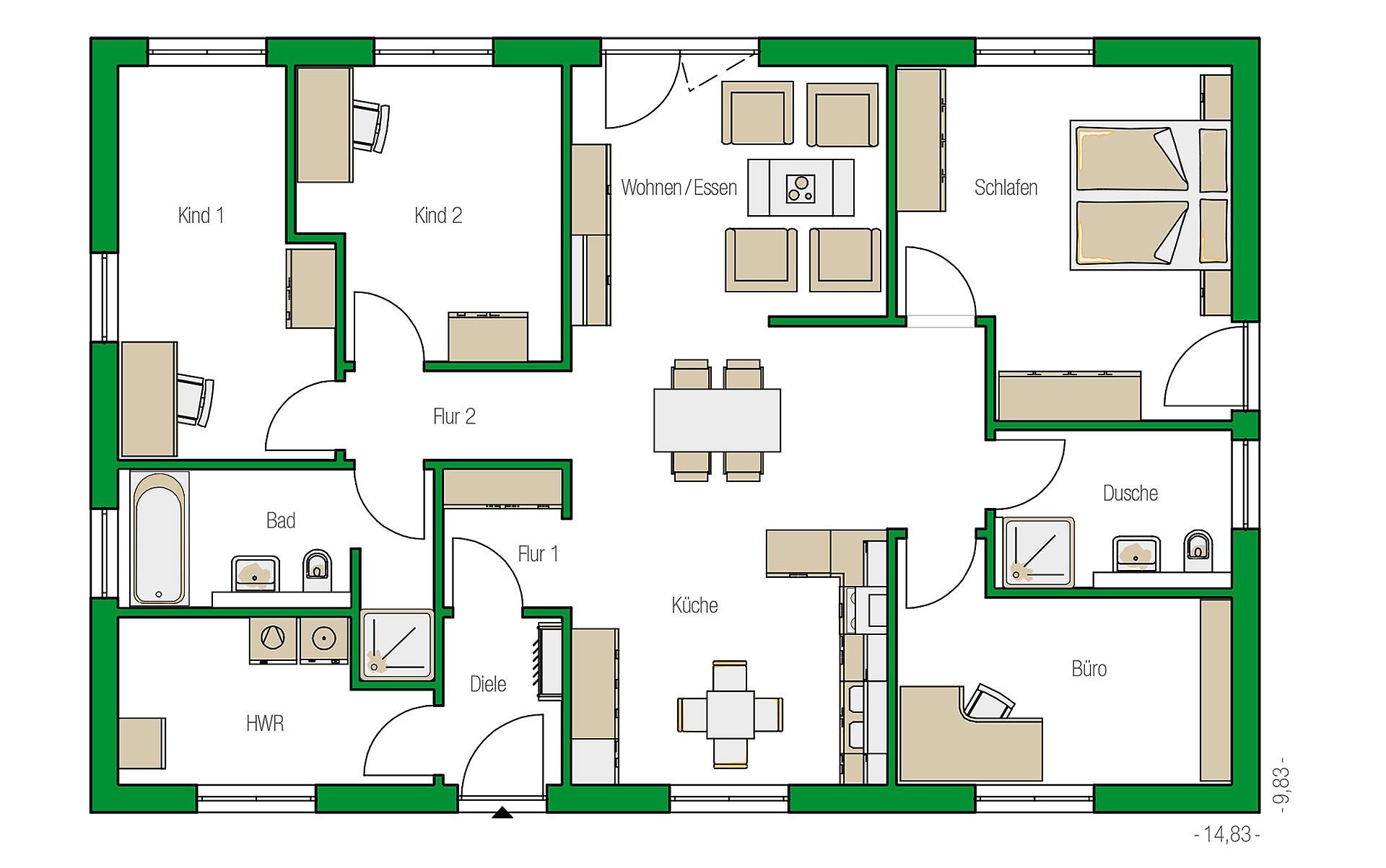 Erdgeschoss Kolding-Variante von HELMA Eigenheimbau AG