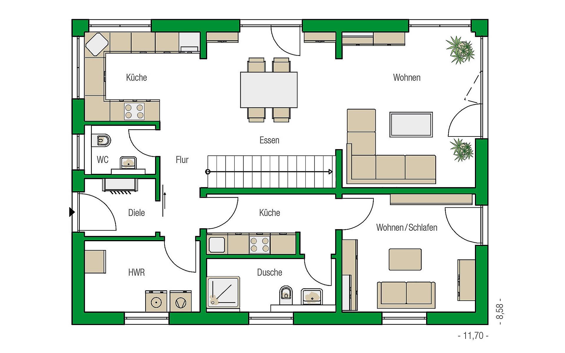 Erdgeschoss Lübeck-Variante von HELMA Eigenheimbau AG