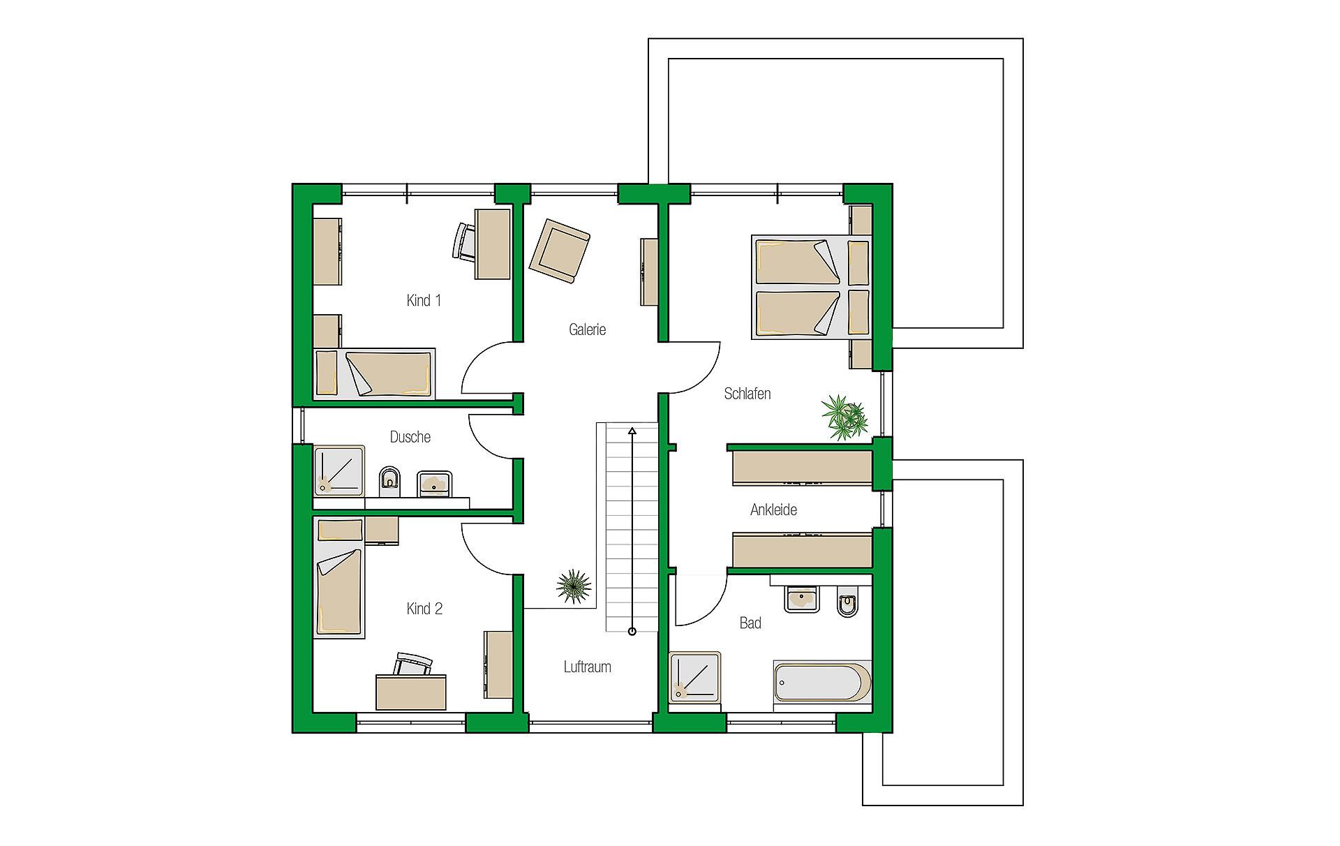 Obergeschoss Lugano von HELMA Eigenheimbau AG