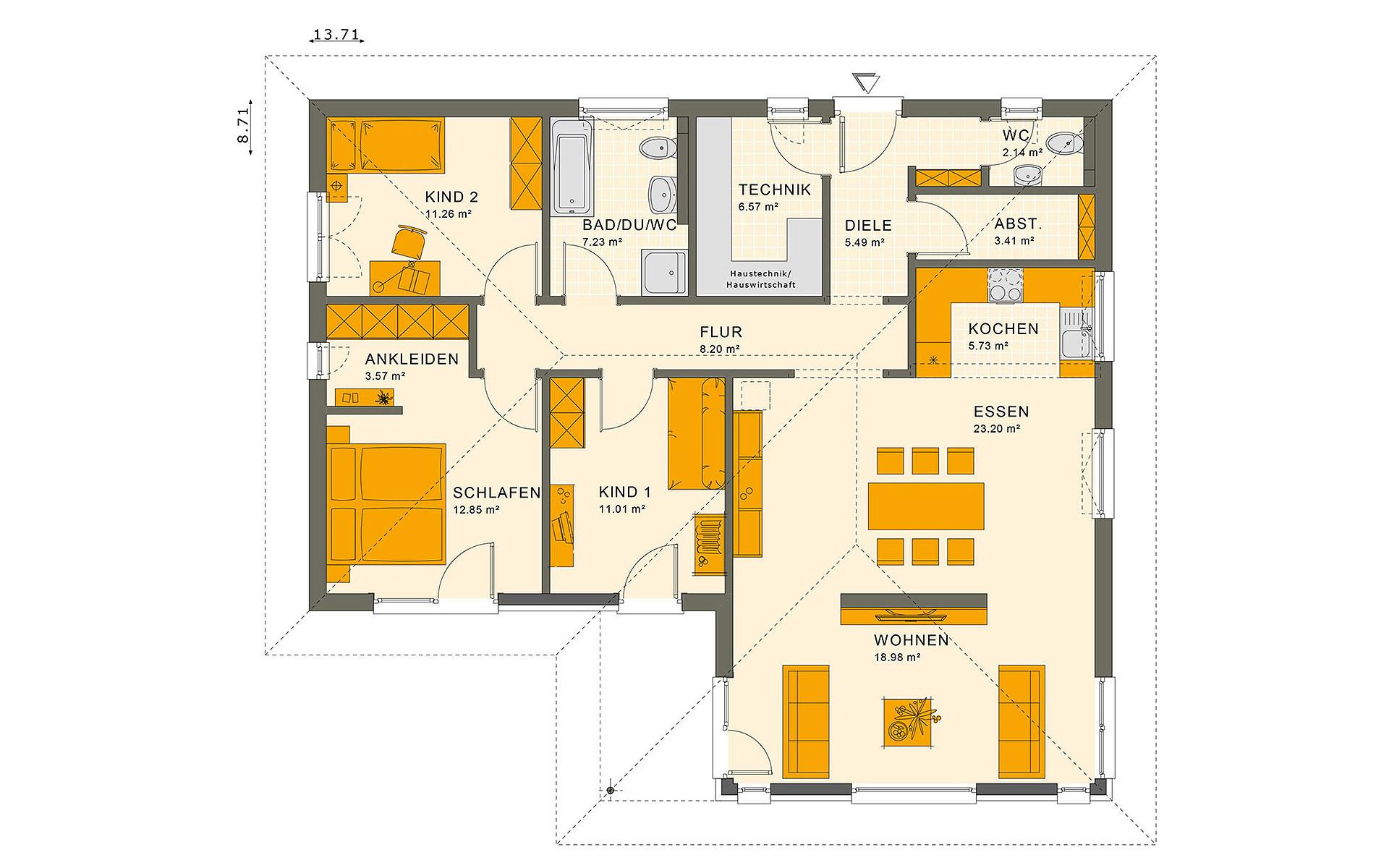 Erdgeschoss SOLUTION 100 V2 von Living Fertighaus GmbH
