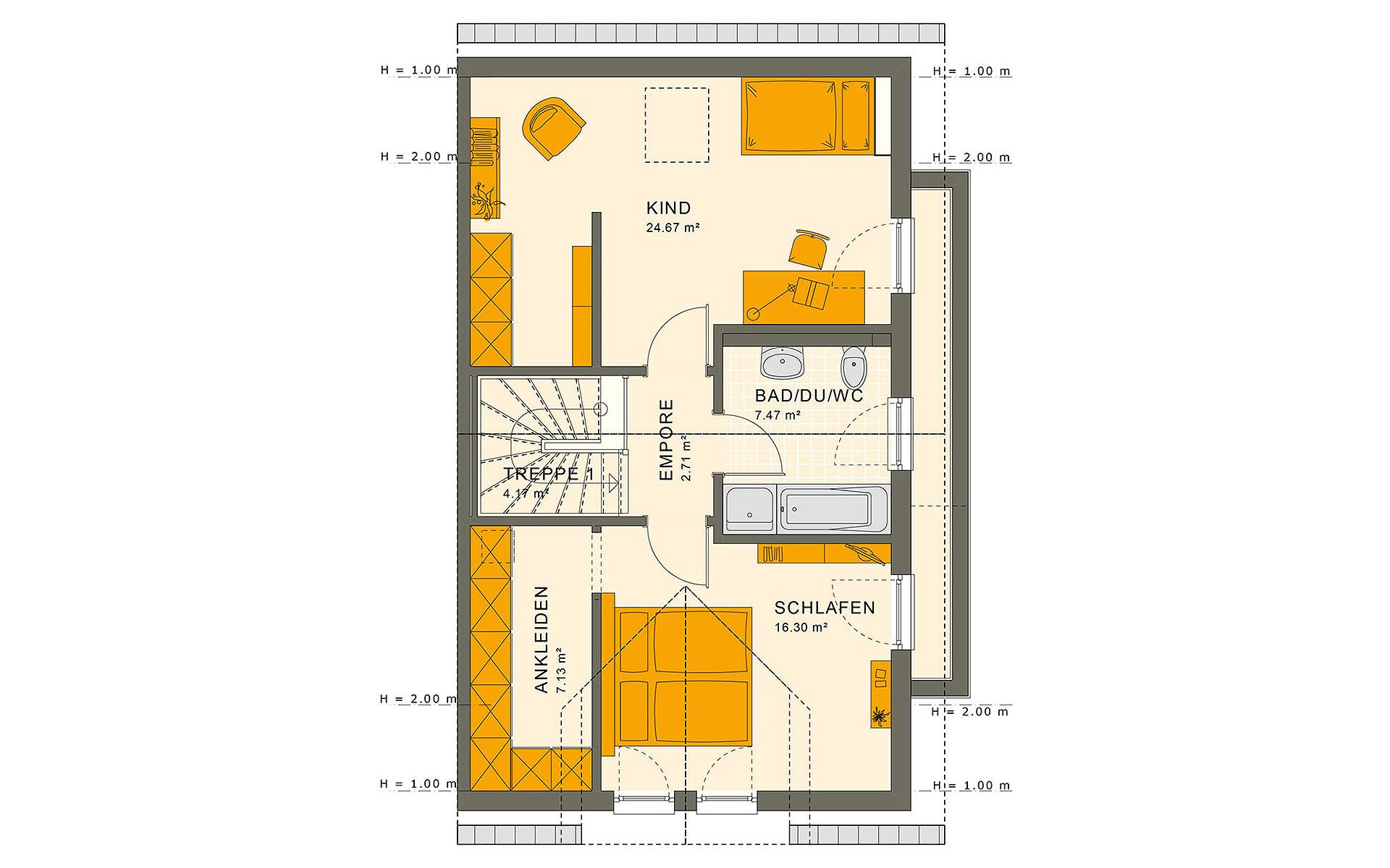 Dachgeschoss SOLUTION 126 L V2 von Living Fertighaus GmbH