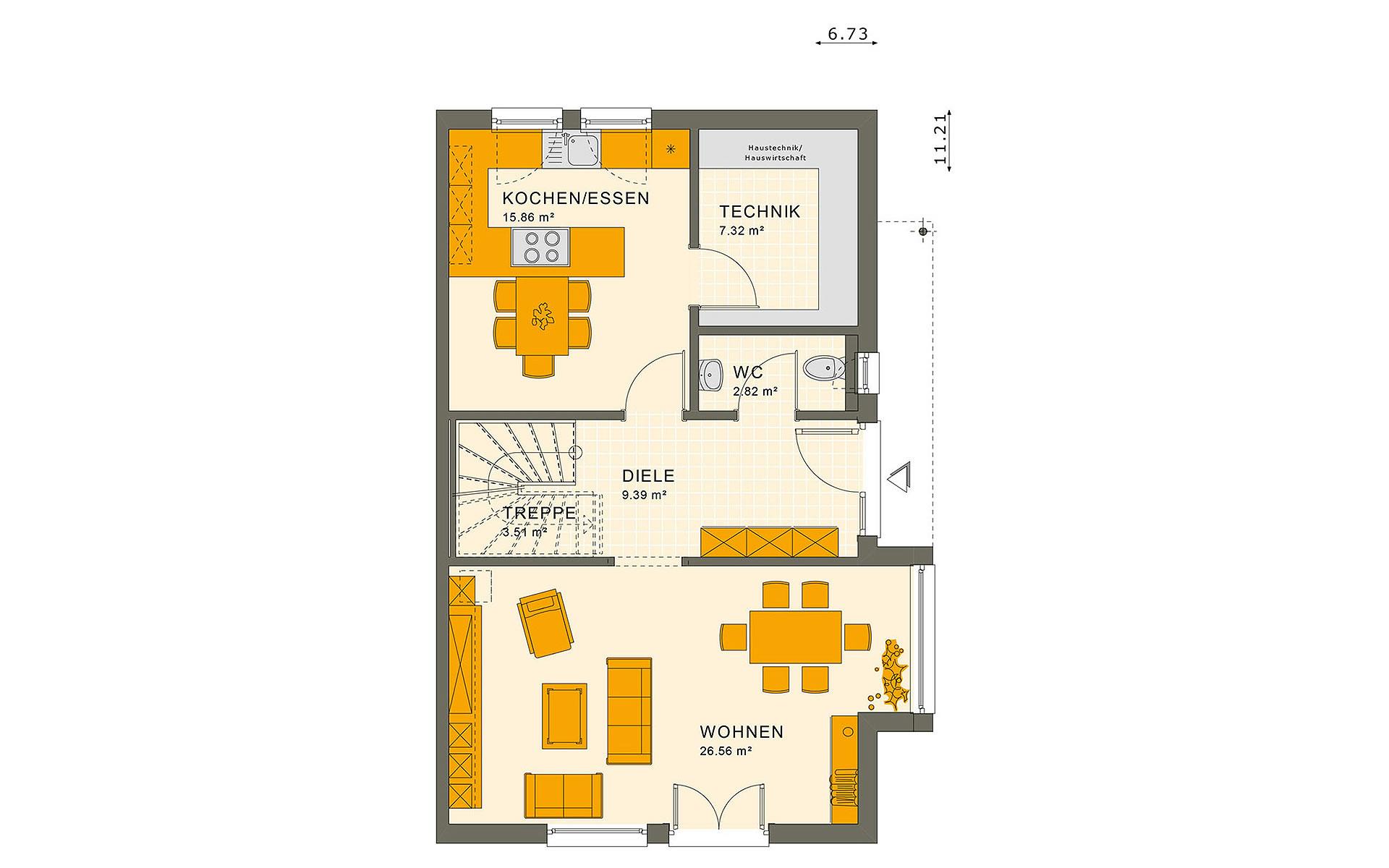 Erdgeschoss SOLUTION 126 L V2 von Living Fertighaus GmbH