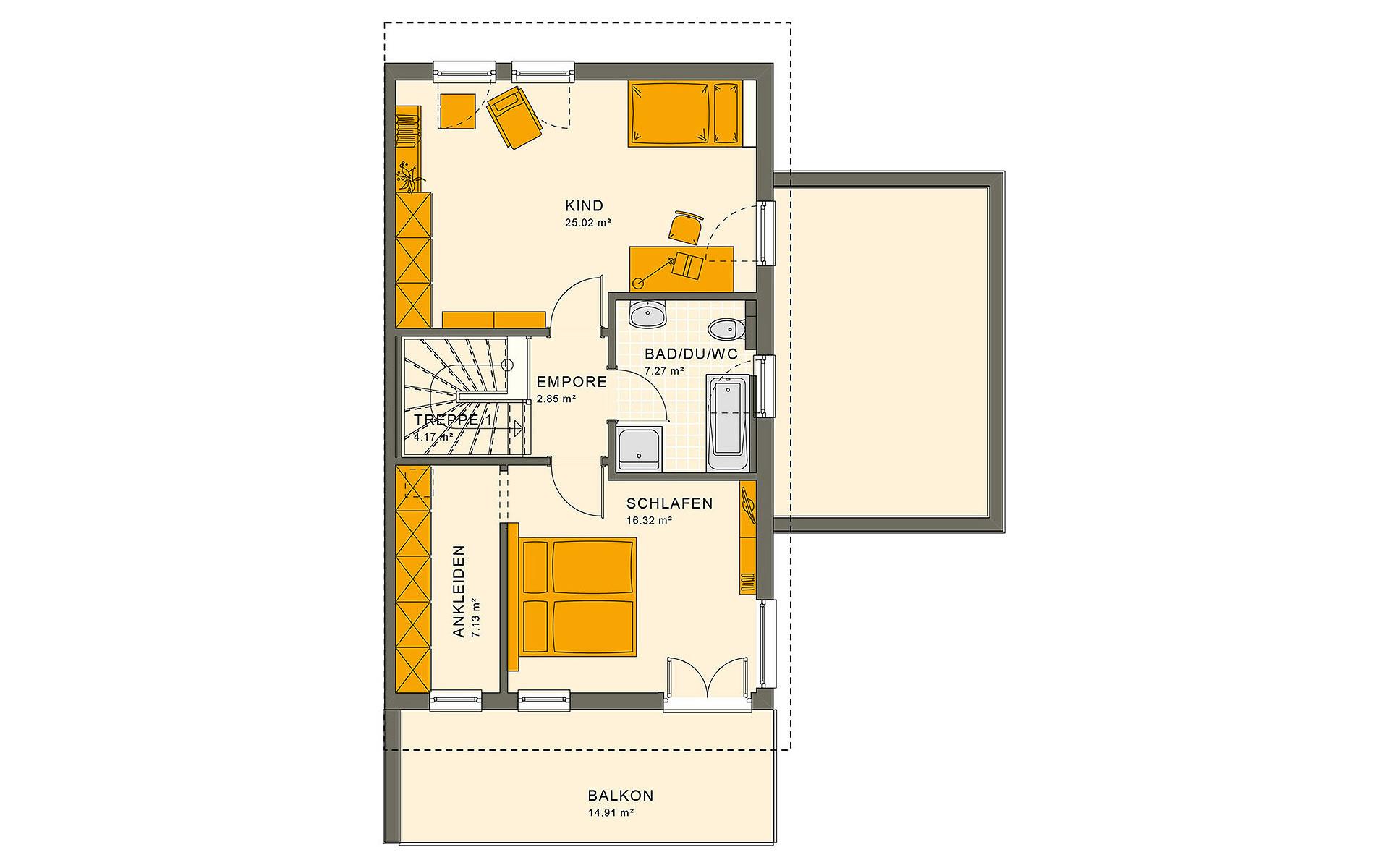 Dachgeschoss SOLUTION 126 L V4 von Living Fertighaus GmbH