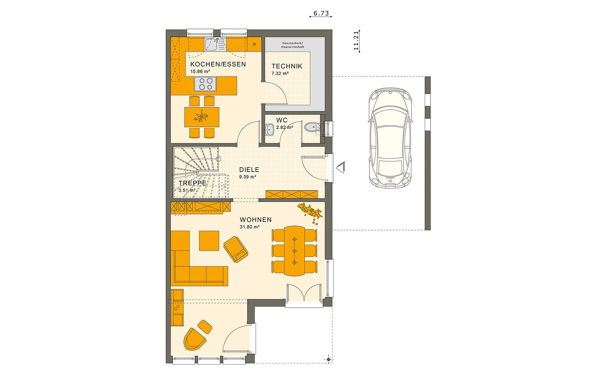 Erdgeschoss SOLUTION 126 L V4 von Living Fertighaus GmbH
