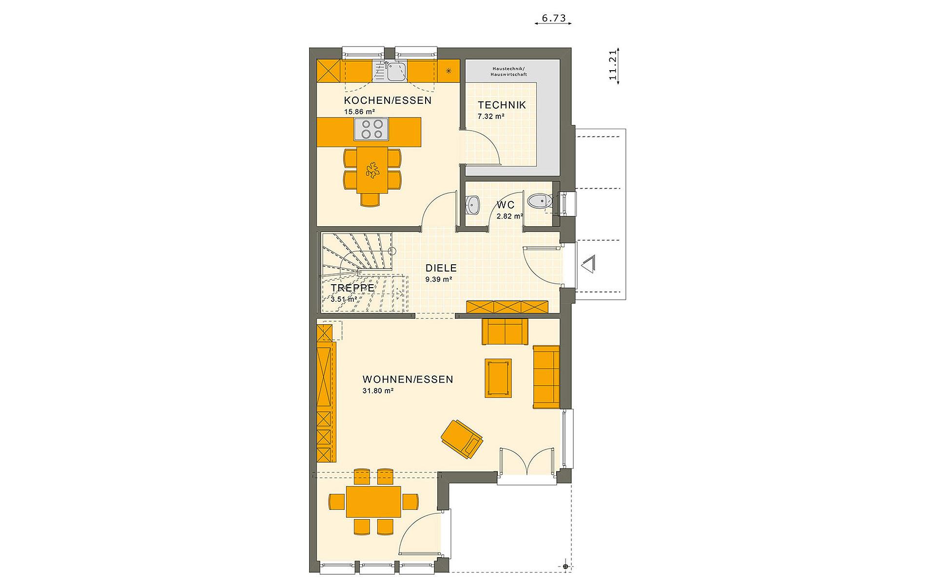 Erdgeschoss SOLUTION 126 XL V5 von Living Fertighaus GmbH