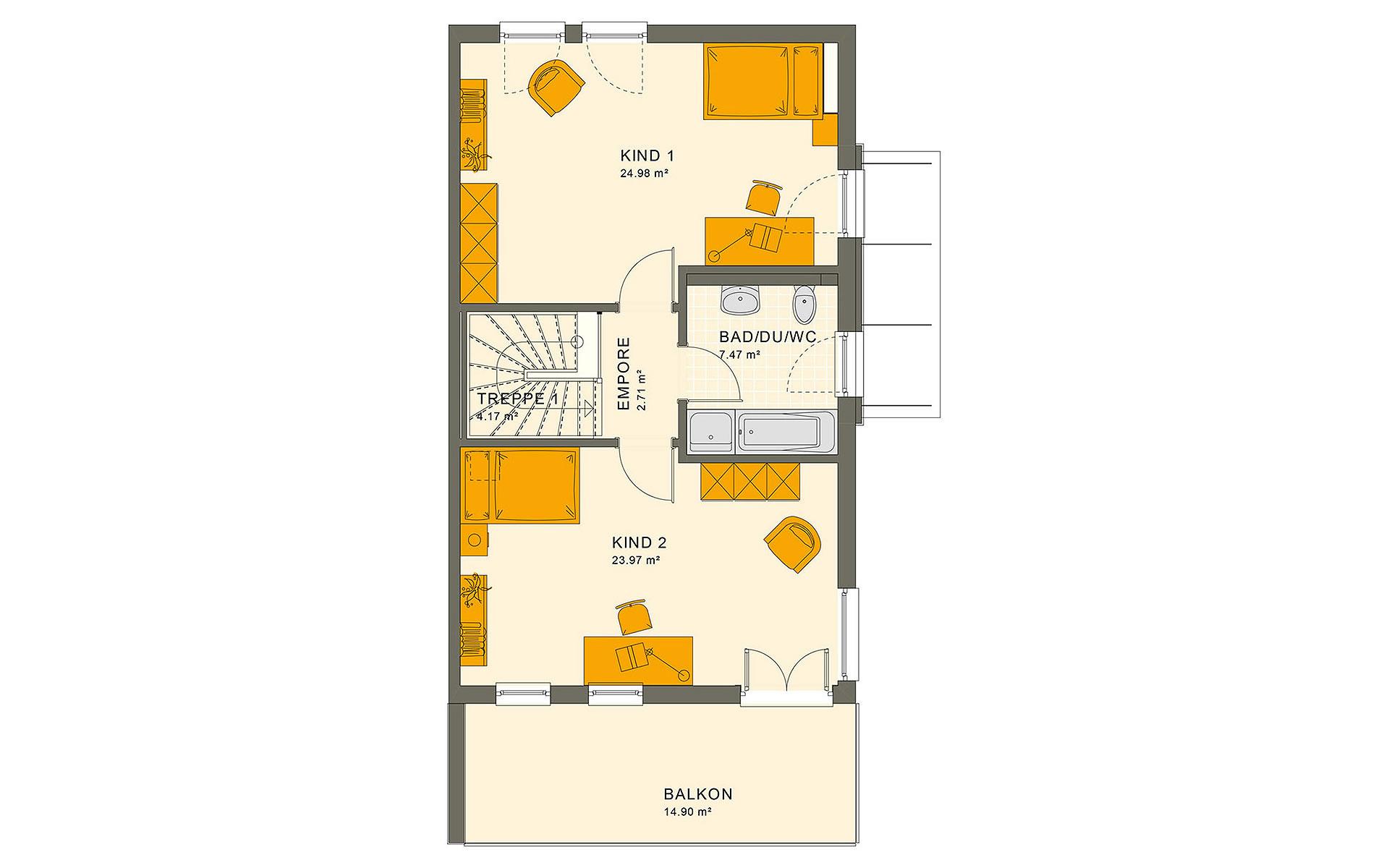 Obergeschoss SOLUTION 126 XL V5 von Living Fertighaus GmbH