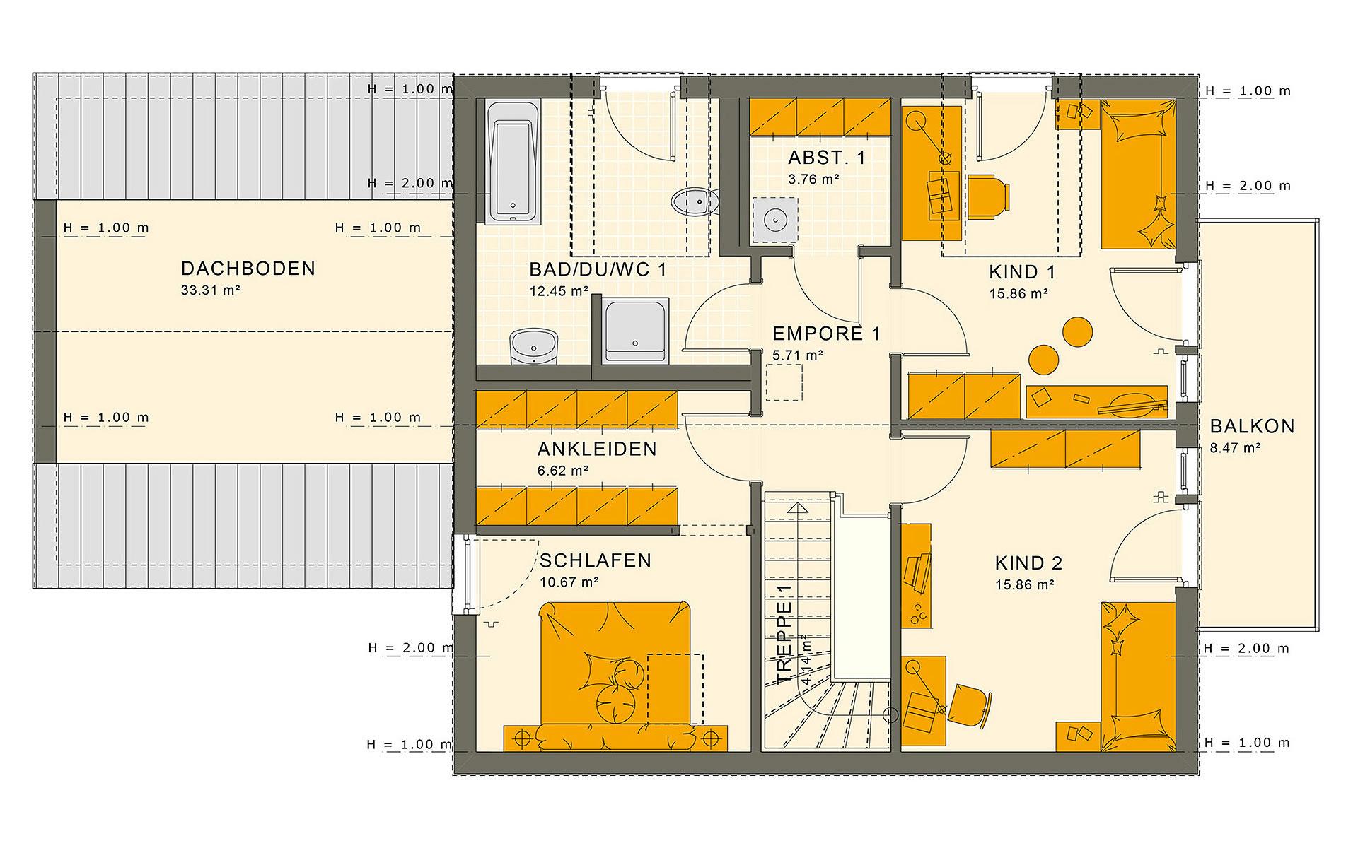 Dachgeschoss SOLUTION 183 V2 von Living Fertighaus GmbH