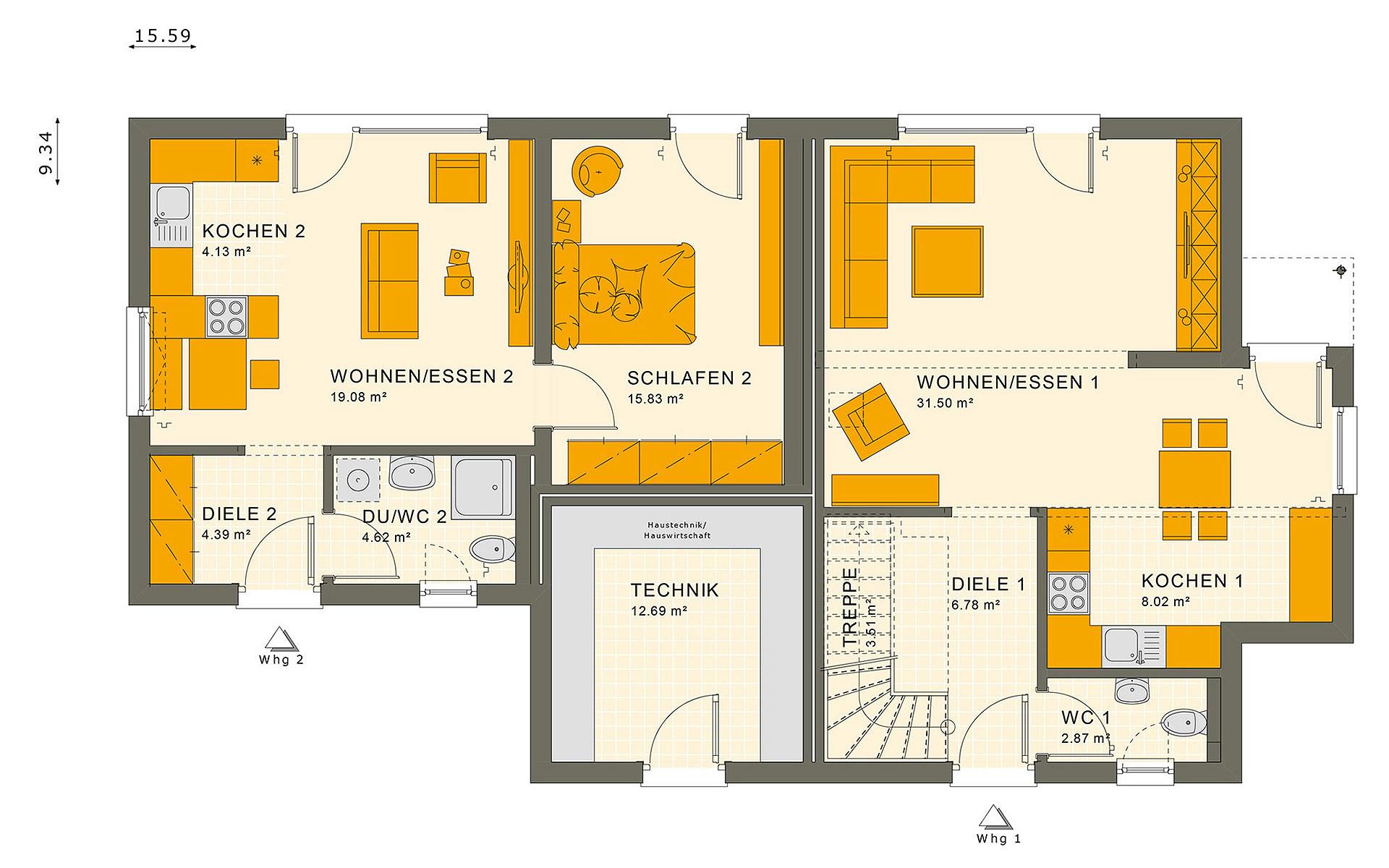 Erdgeschoss SOLUTION 183 V2 von Living Fertighaus GmbH