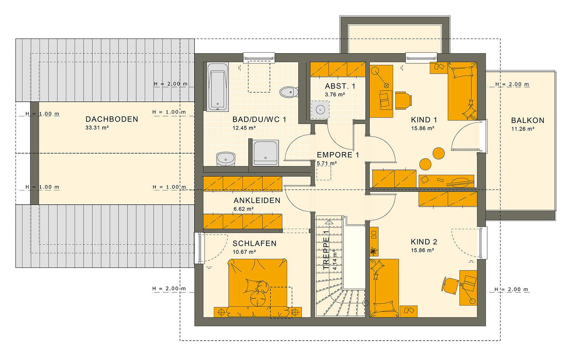 Dachgeschoss SOLUTION 183 V4 von Living Fertighaus GmbH