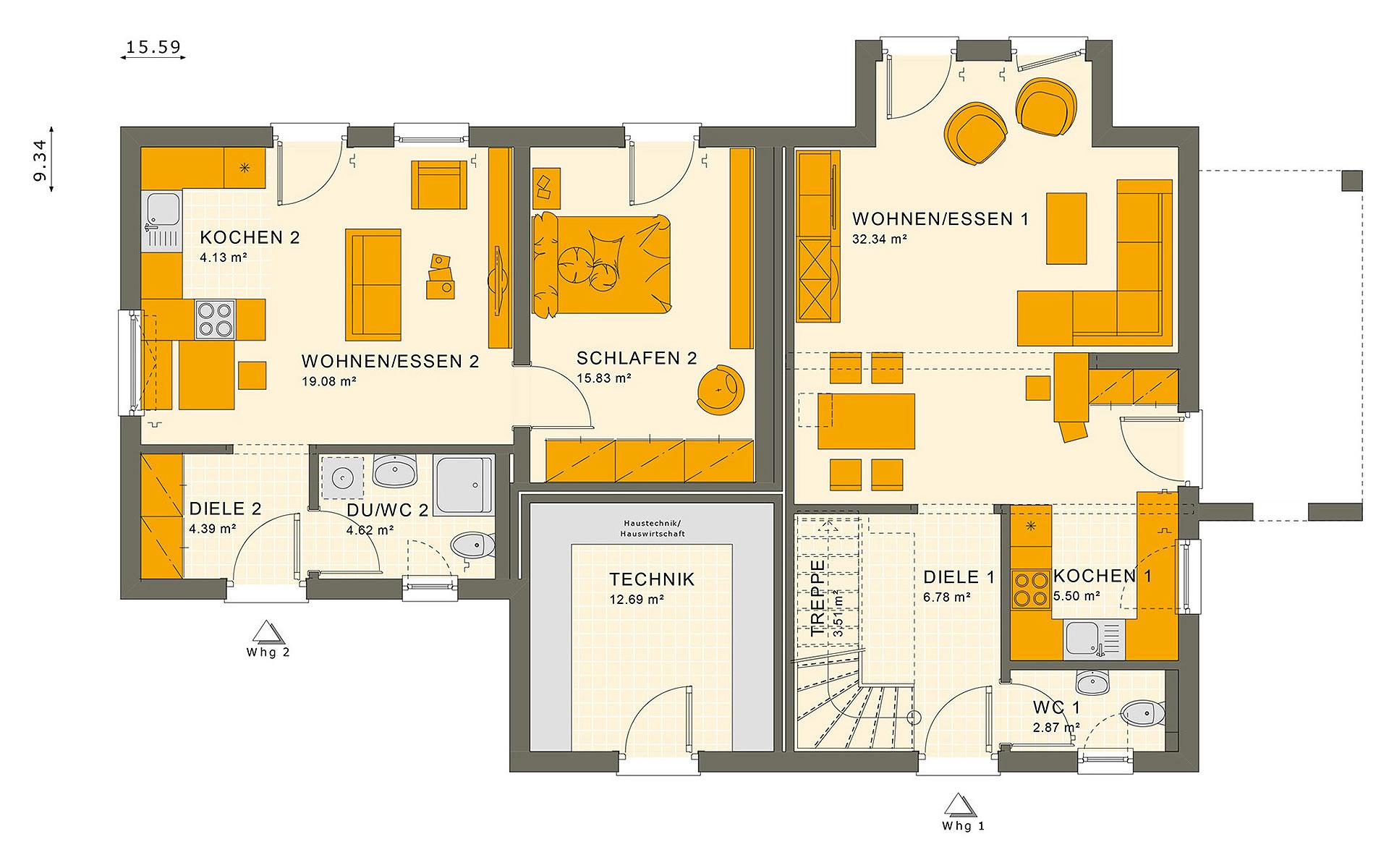 Erdgeschoss SOLUTION 183 V4 von Living Fertighaus GmbH