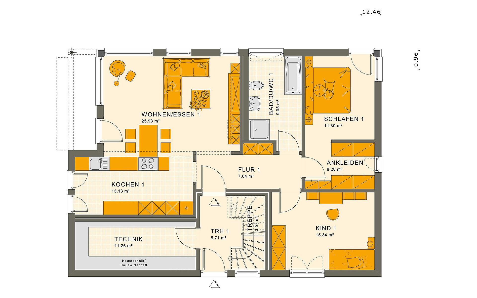 Erdgeschoss SOLUTION 204 V2 von Living Fertighaus GmbH