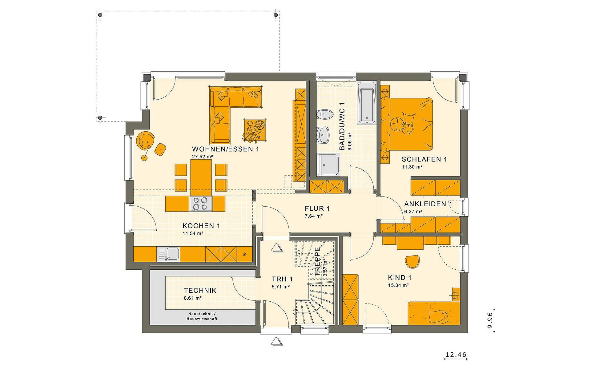 Erdgeschoss SOLUTION 204 V6 von Living Fertighaus GmbH