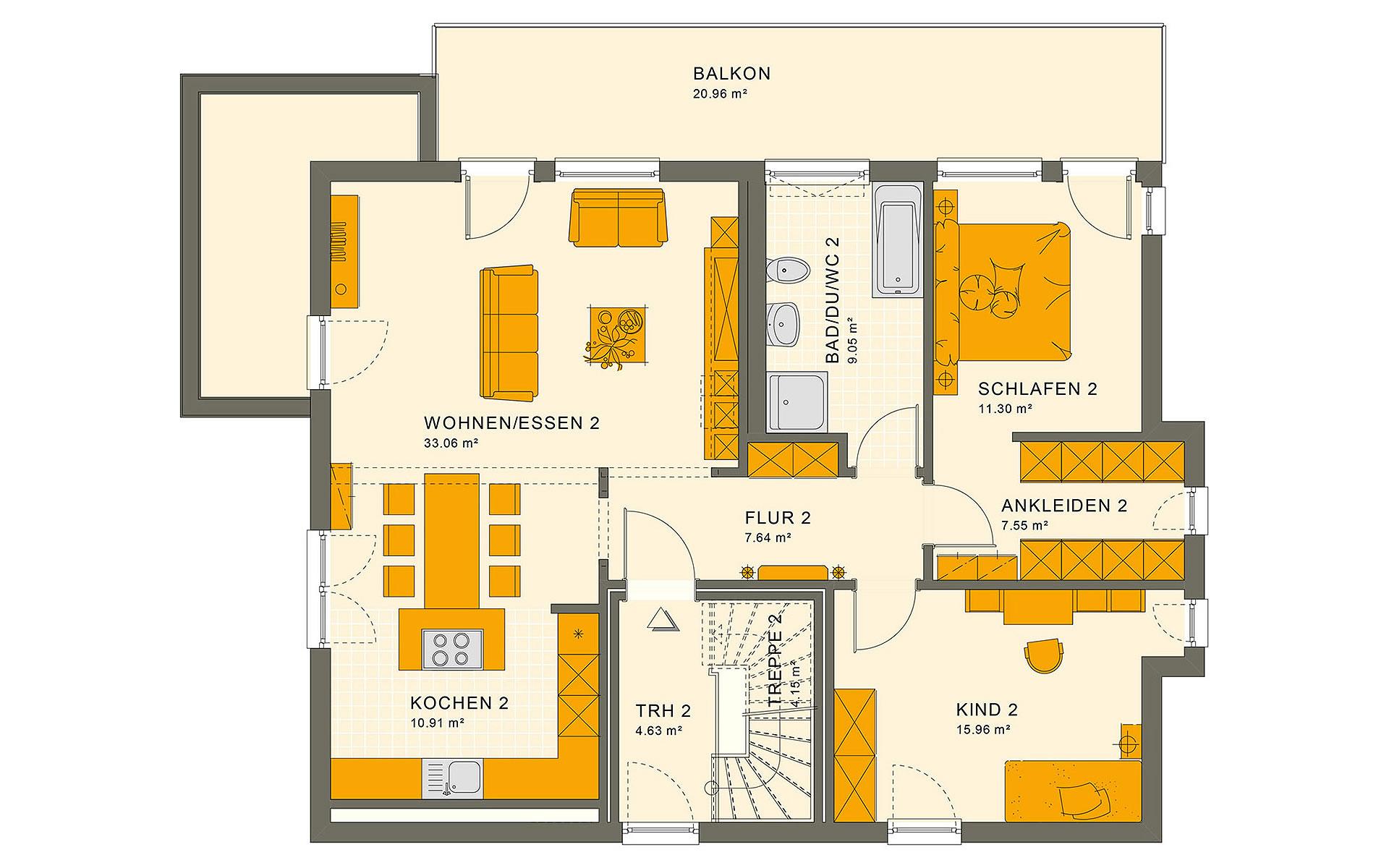 Obergeschoss SOLUTION 204 V8 von Living Fertighaus GmbH