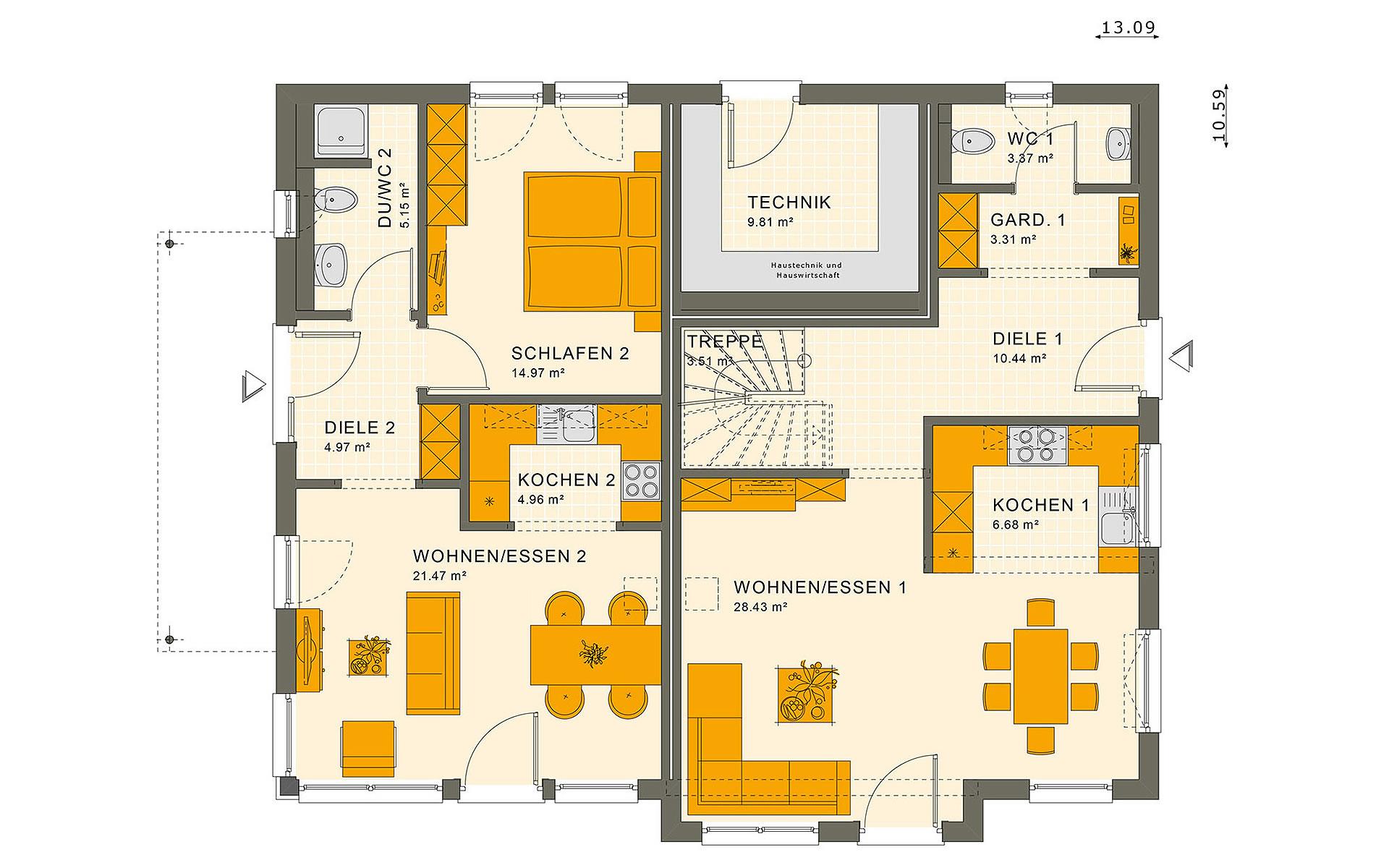 Erdgeschoss SOLUTION 230 V6 von Living Fertighaus GmbH