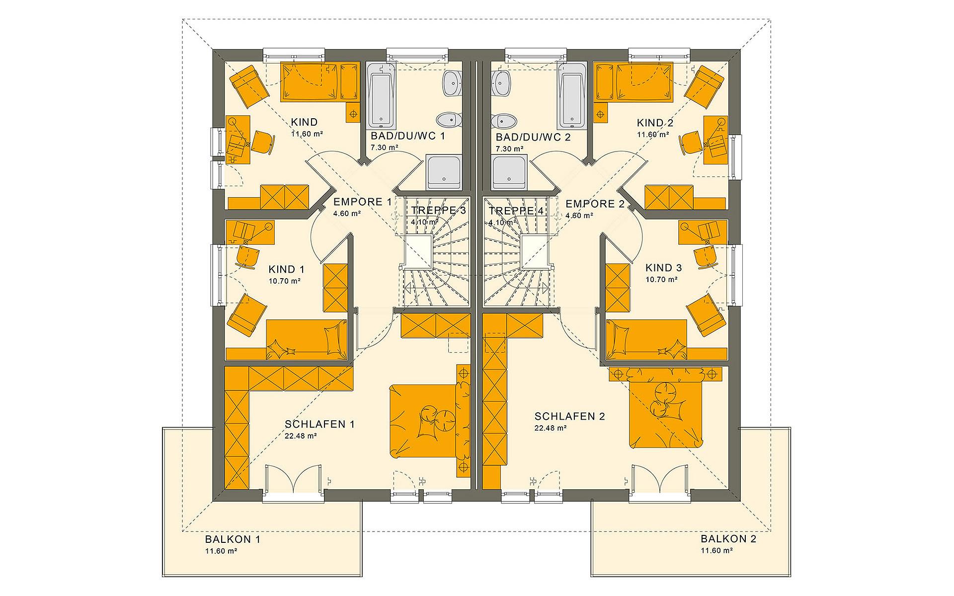 Obergeschoss SOLUTION 242 V6 von Living Fertighaus GmbH
