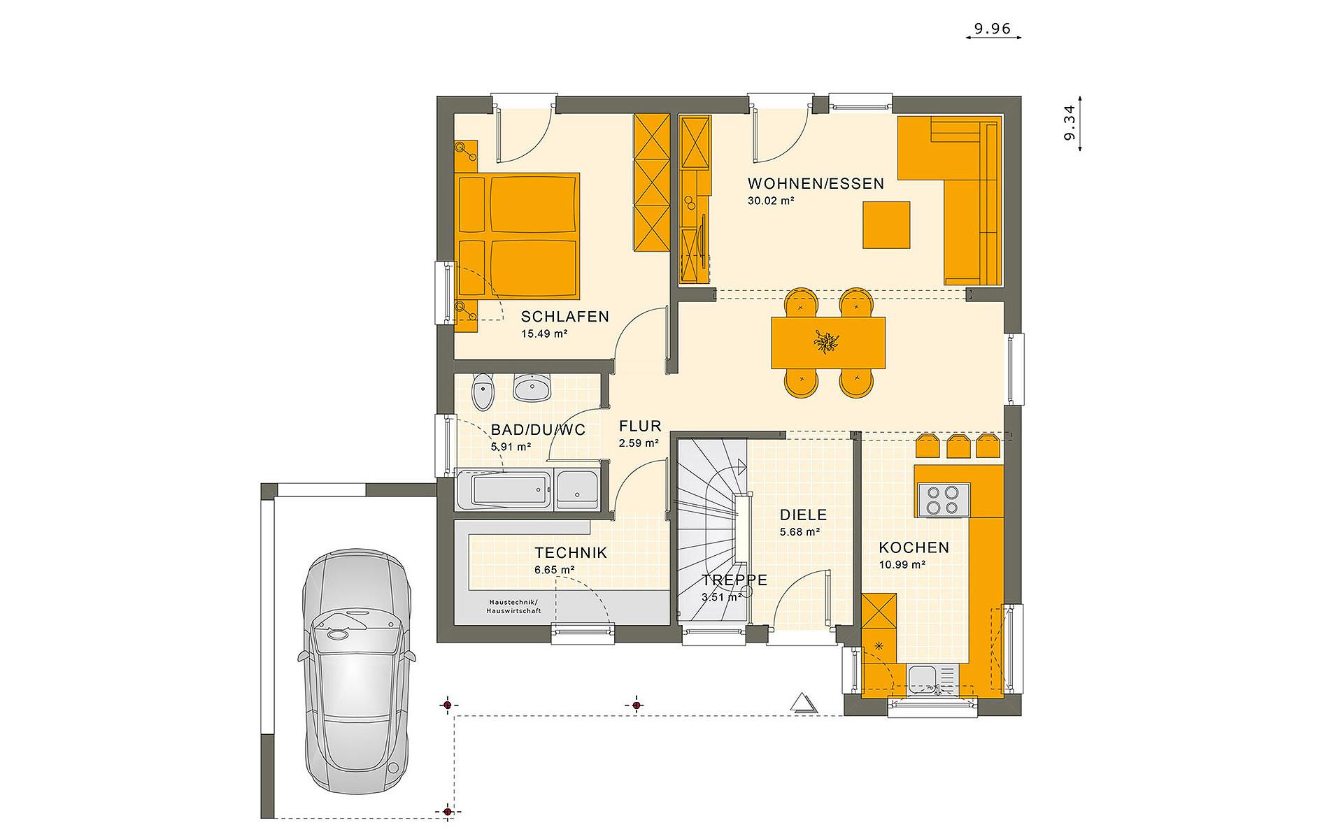 Erdgeschoss SOLUTION 78 V10 von Living Fertighaus GmbH