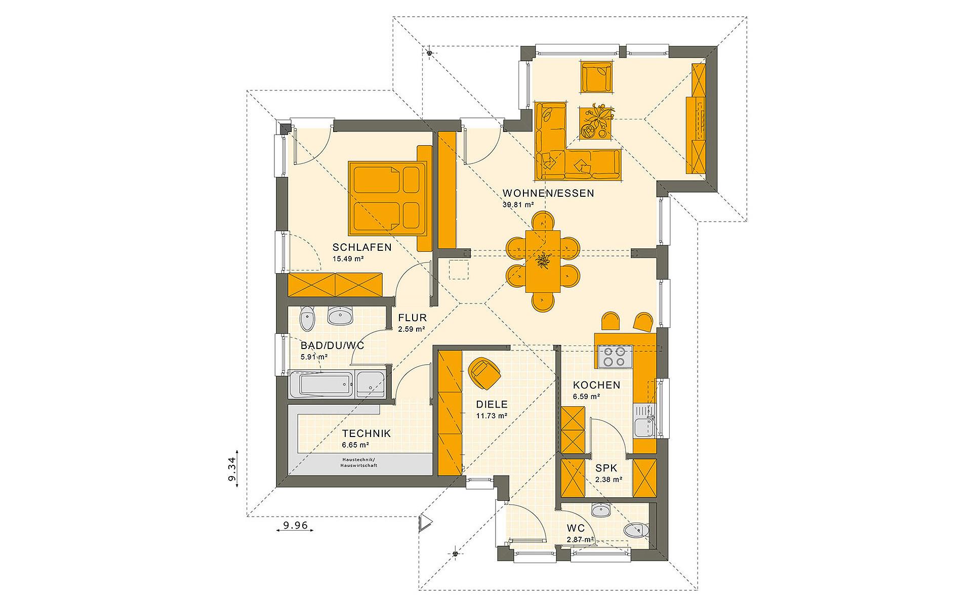 Erdgeschoss SOLUTION 78 V8 von Living Fertighaus GmbH